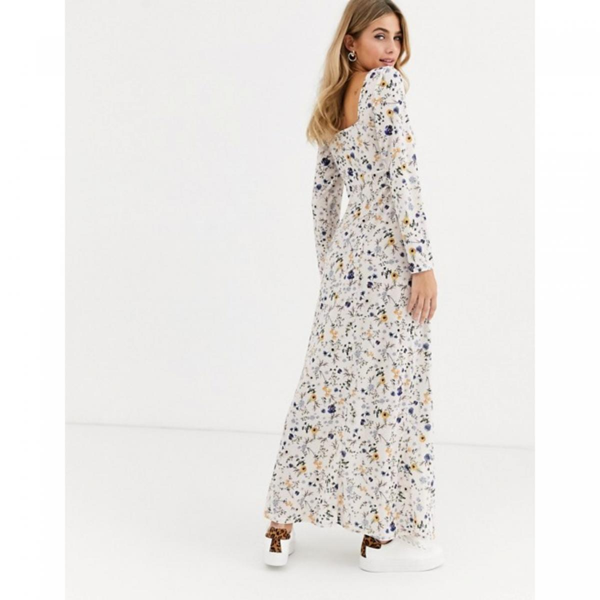 *Never worn* white ASOS long sleeve square neck shirred maxi dress (size 4). Price may be negotiated.
