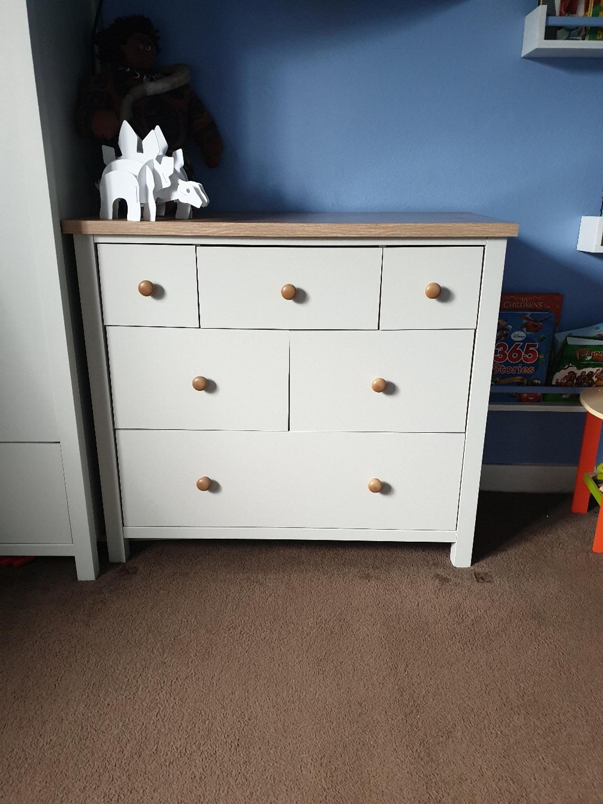 3 piece bedroom set in cream/oak  Wardrobe has 1 shelf 1 hanging rail and a drawer.  Chest of drawers various sizes of drawers (drawers may need realigning)  Single cream bed frame (no mattress) small chip and stain as shown in pictures.  All in good condition  From pet and smoke free home  Collection from Heywood