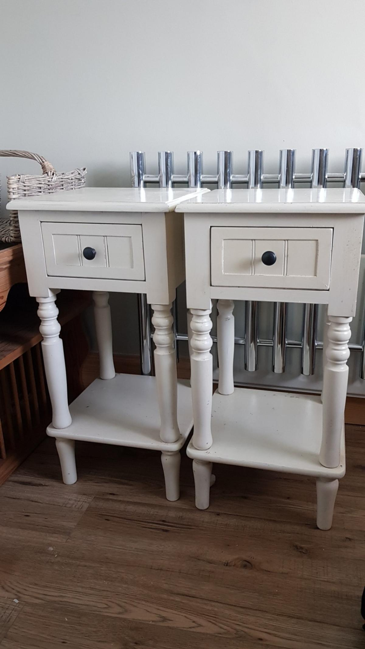 Pair Shabby Chic Bedside Cabinets In