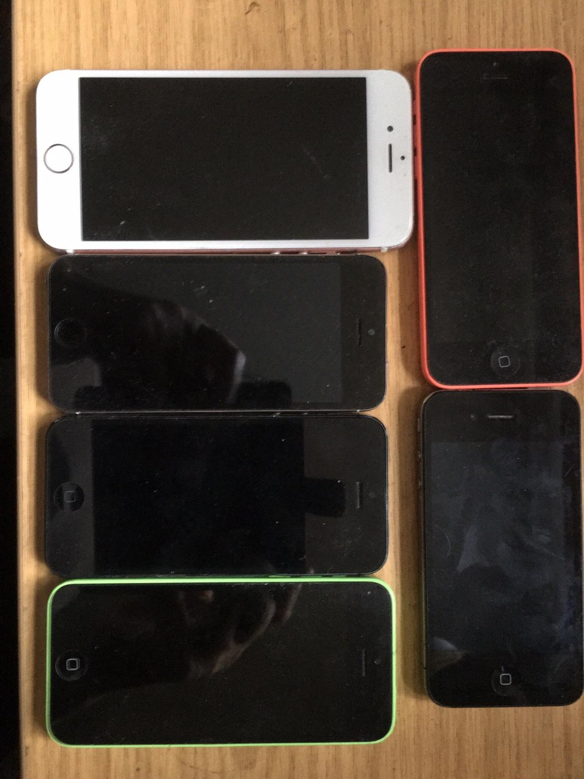 2 x iPhone 5's 2 x iPhone 5c's 1x iPhone 4 1 x iPhone 6 for spares or repair some iPhone locked some will not boot up all screens no cracks