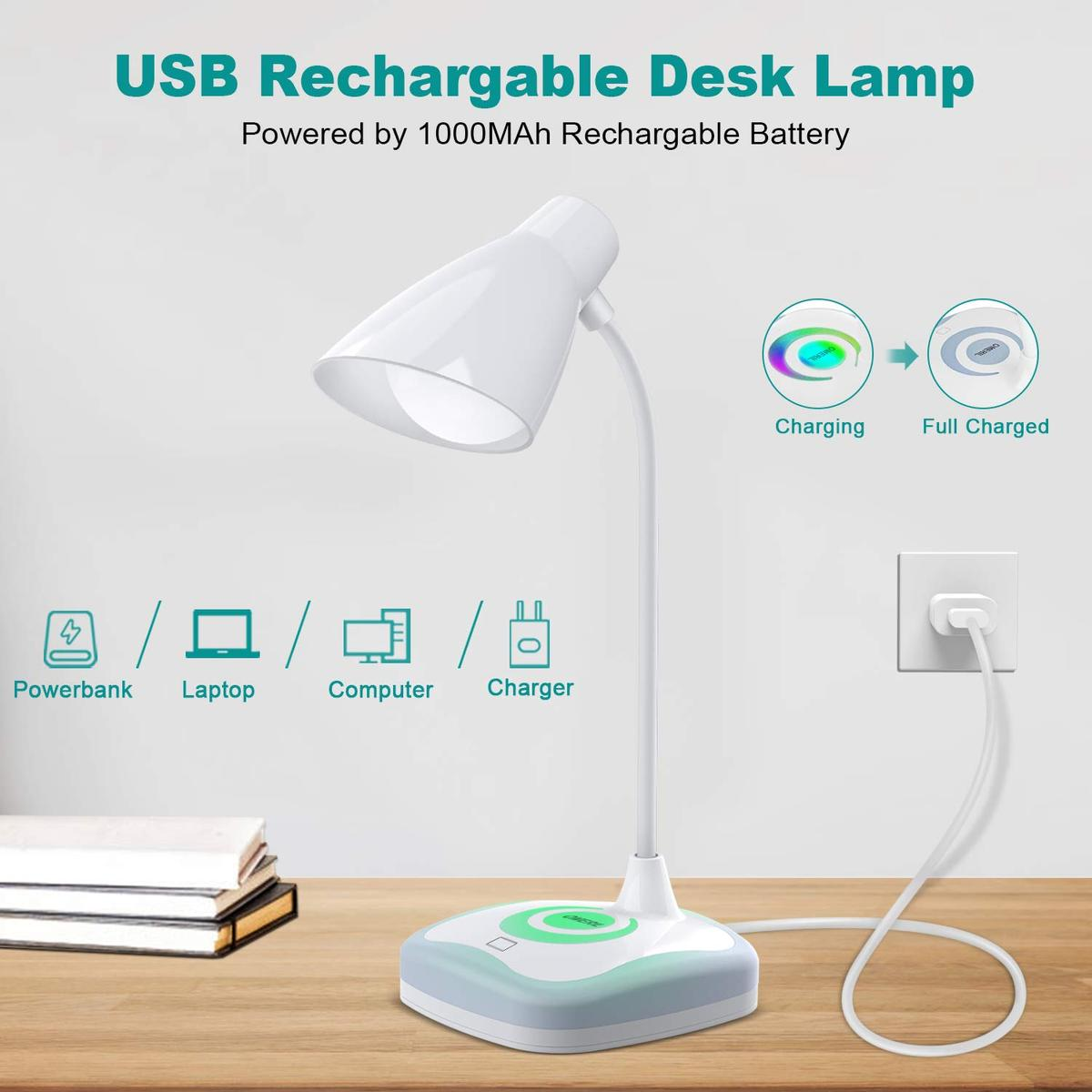 LED Desk Lamp Bedroom Office 3 Levels Brightness Energy-Saving Portable Reading Book Light for Study etc OMERIL 5W USB Rechargeable Reading Light with Mood Light on Base Touch Sensor Control