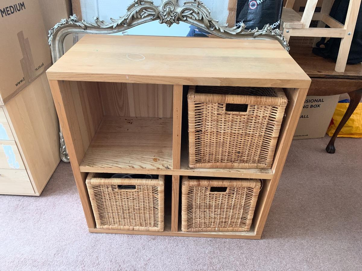 Ikea Cube Storage Unit And Baskets In
