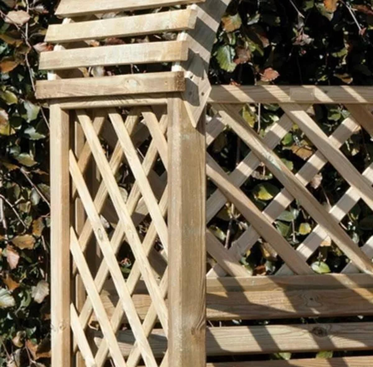 Rowlinson Jaipur Arbour Wooden Timber Garden Seat Bench Trellis Eastern Design