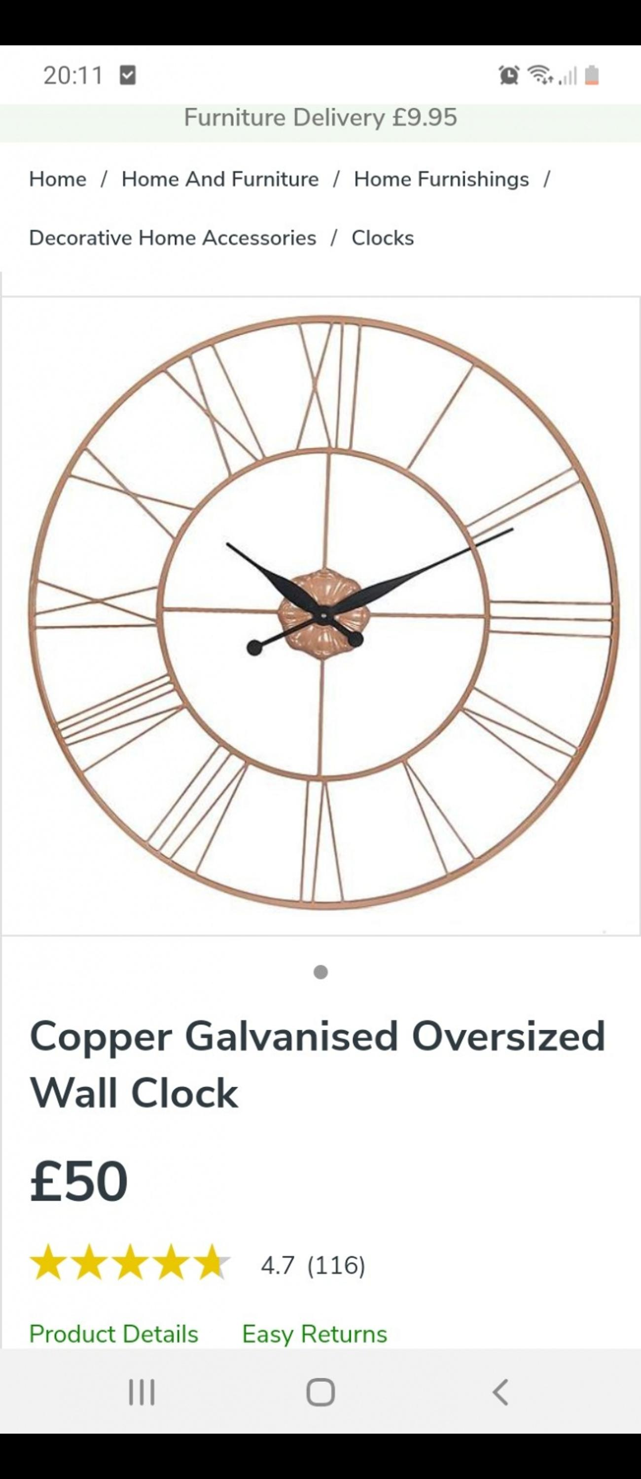 Large Copper Dunelm Wall Clock In Ts15 Yarm For 20 00 For Sale Shpock
