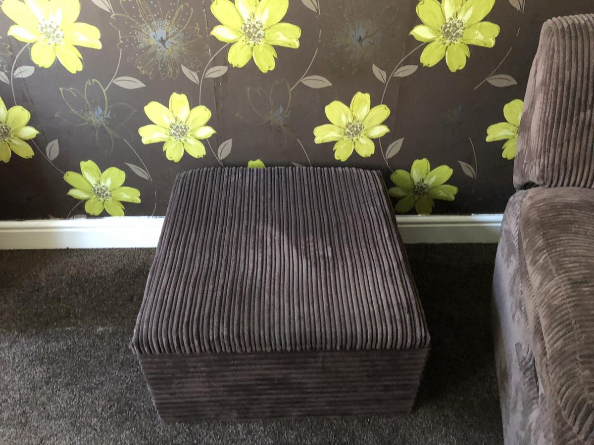 Three seater and two seater recliners and storage foot stool very good condition