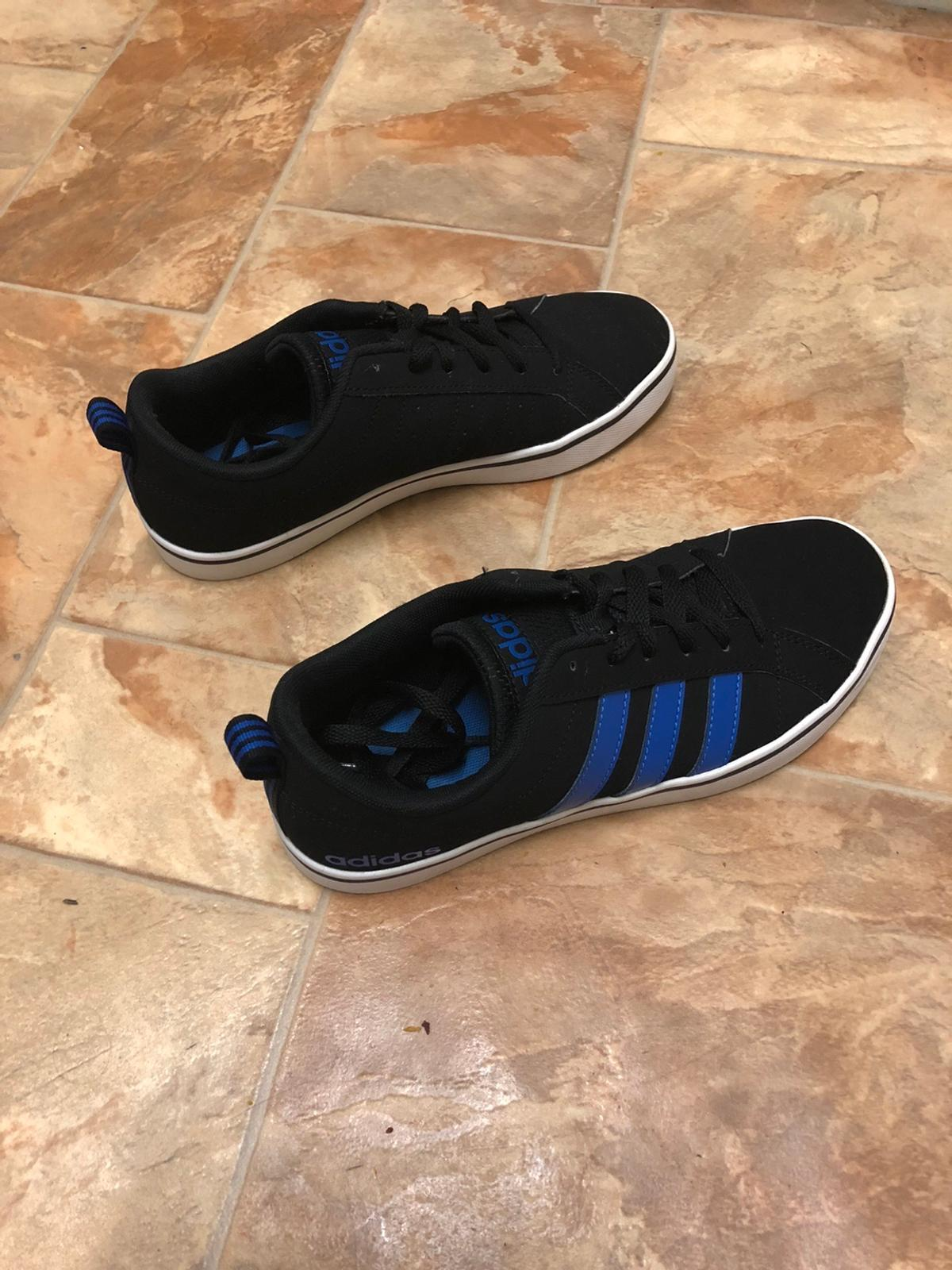 Size 6, men's Adidas pace vs nubuck men's trainers. Black and blue striped. Blue insides.  Worn several times but they are in really good condition. Can post them as first class and I will send the receipt for you or you can collect.