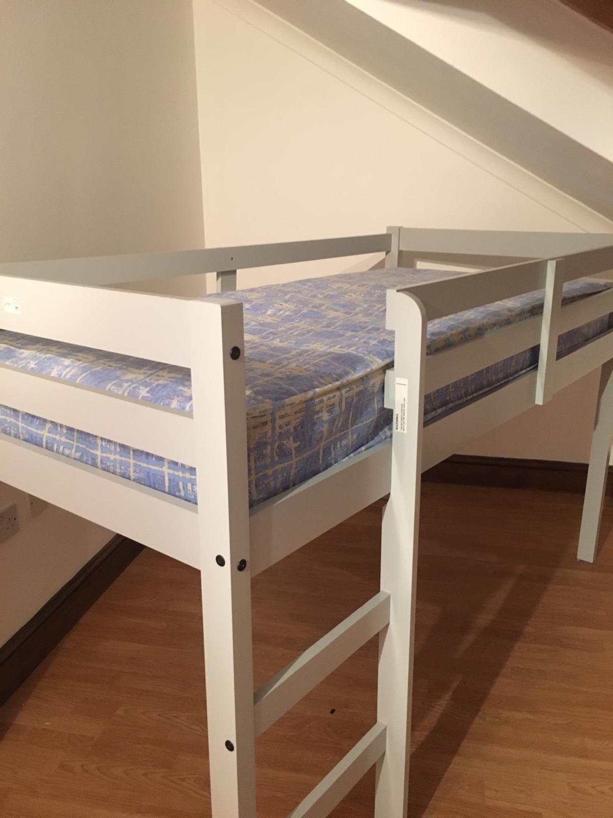 Brand new Cabin Bed in grey with brand new mattress never slept in!! Bought and doesn't fit room...Not a scratch or mark on the frame and same for the mattress paid £228 had it 1 month all stickers still on the bed also