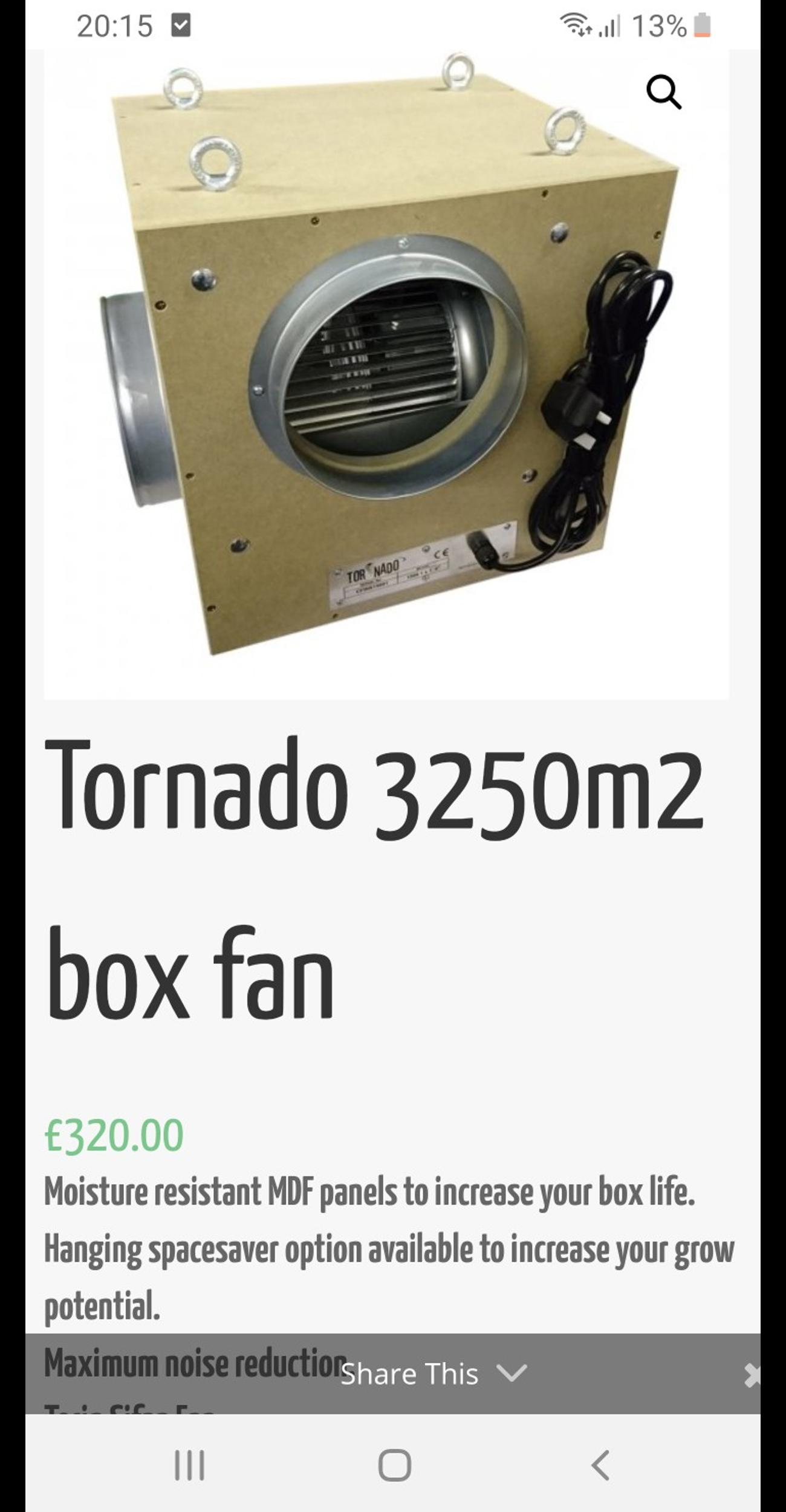 Hydroponic box fan, 3250 nice clean condition, minimal use half price of new