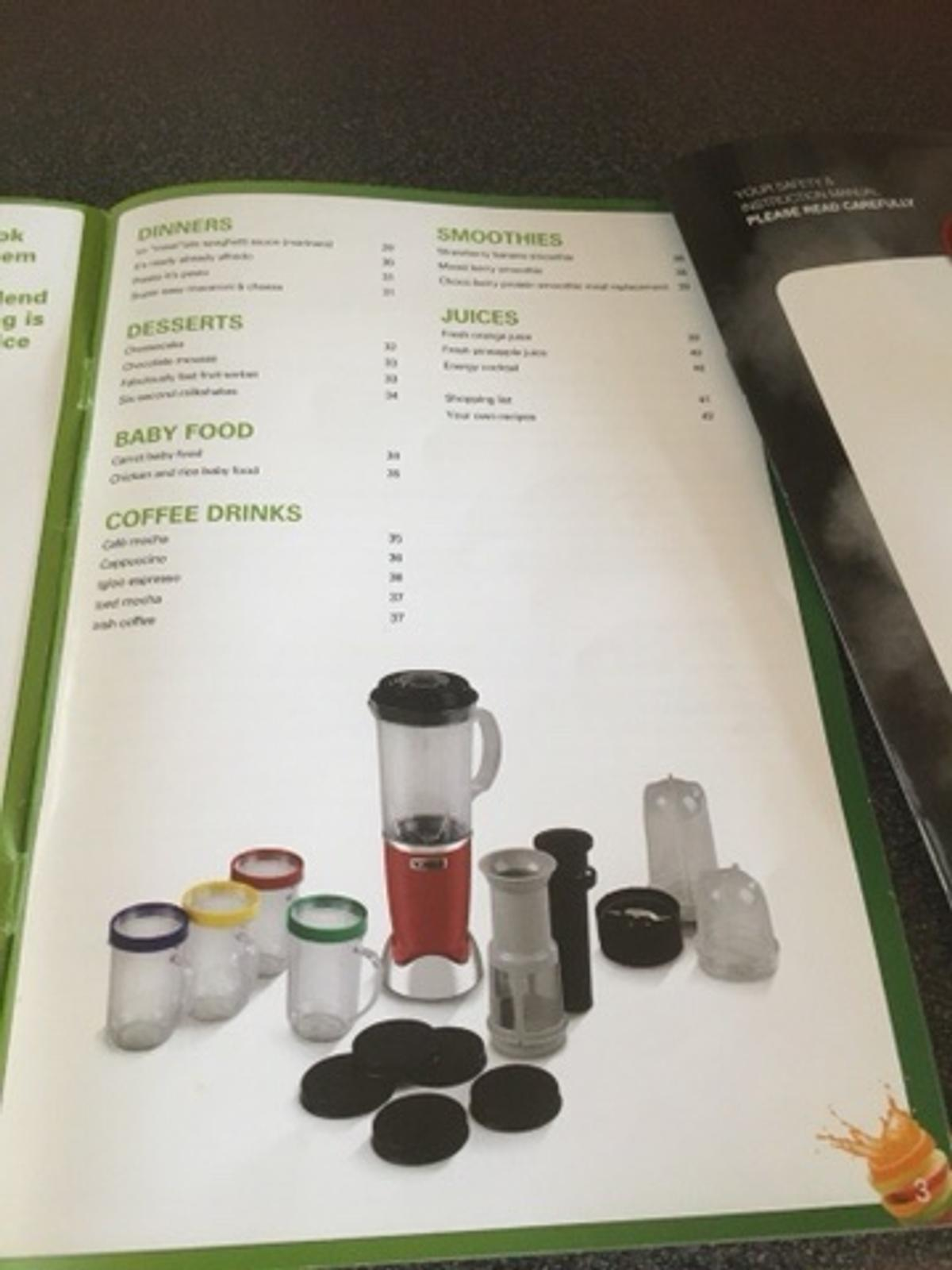 Complete with instruction book, cups for smoothies, juices etc. Instruction book with recipes, you can.make muffins and lots more