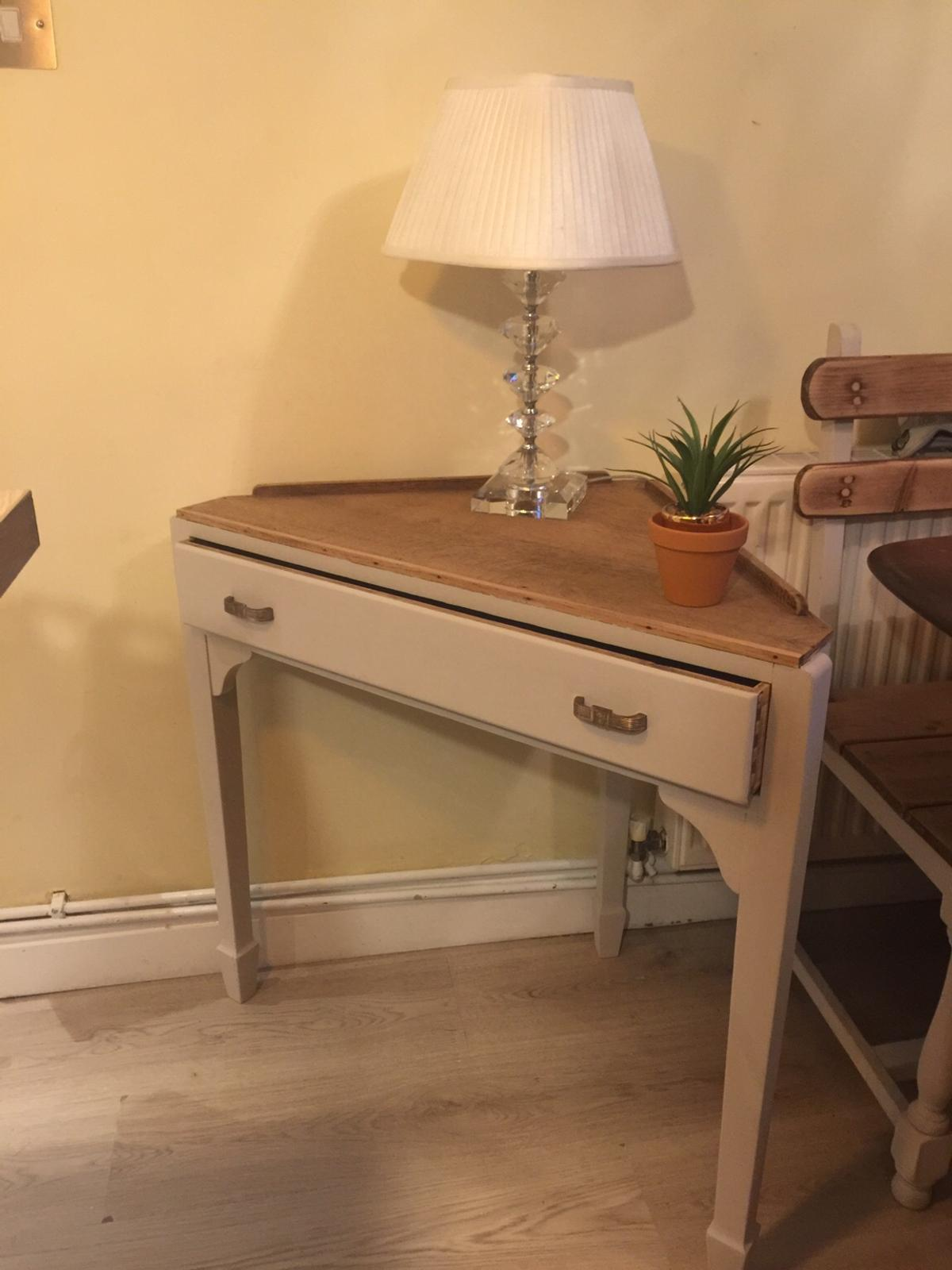 Sideboard £125, corner table £50, vintage school desk £30, table and chairs £225