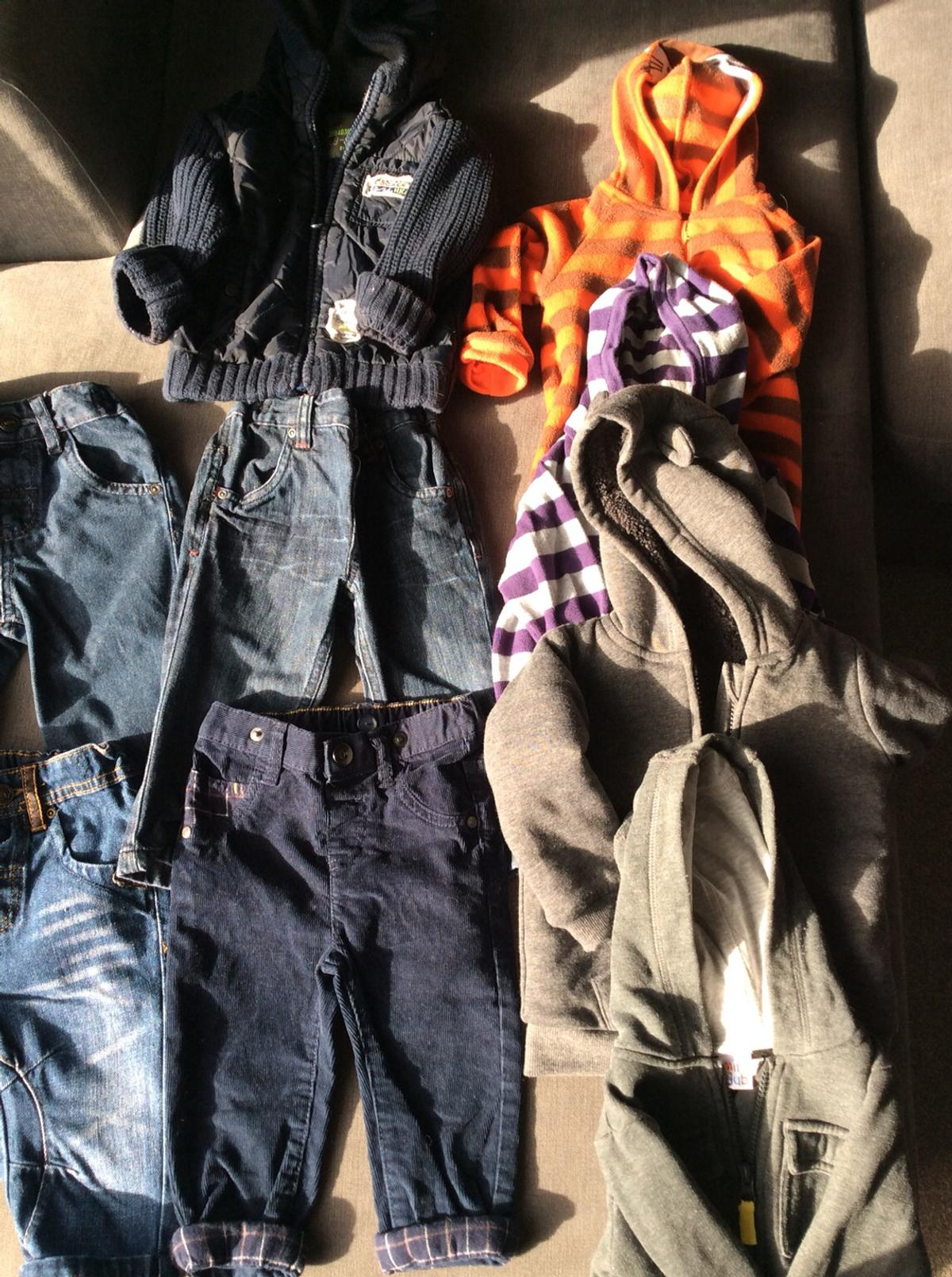 3 hoodies from George, Boots and Early days 5 tops - Next 1 Disney top - George 1 Tiger onesie 3 jeans - Next 1 Trousers- Nutmeg 1 Jacket - Next