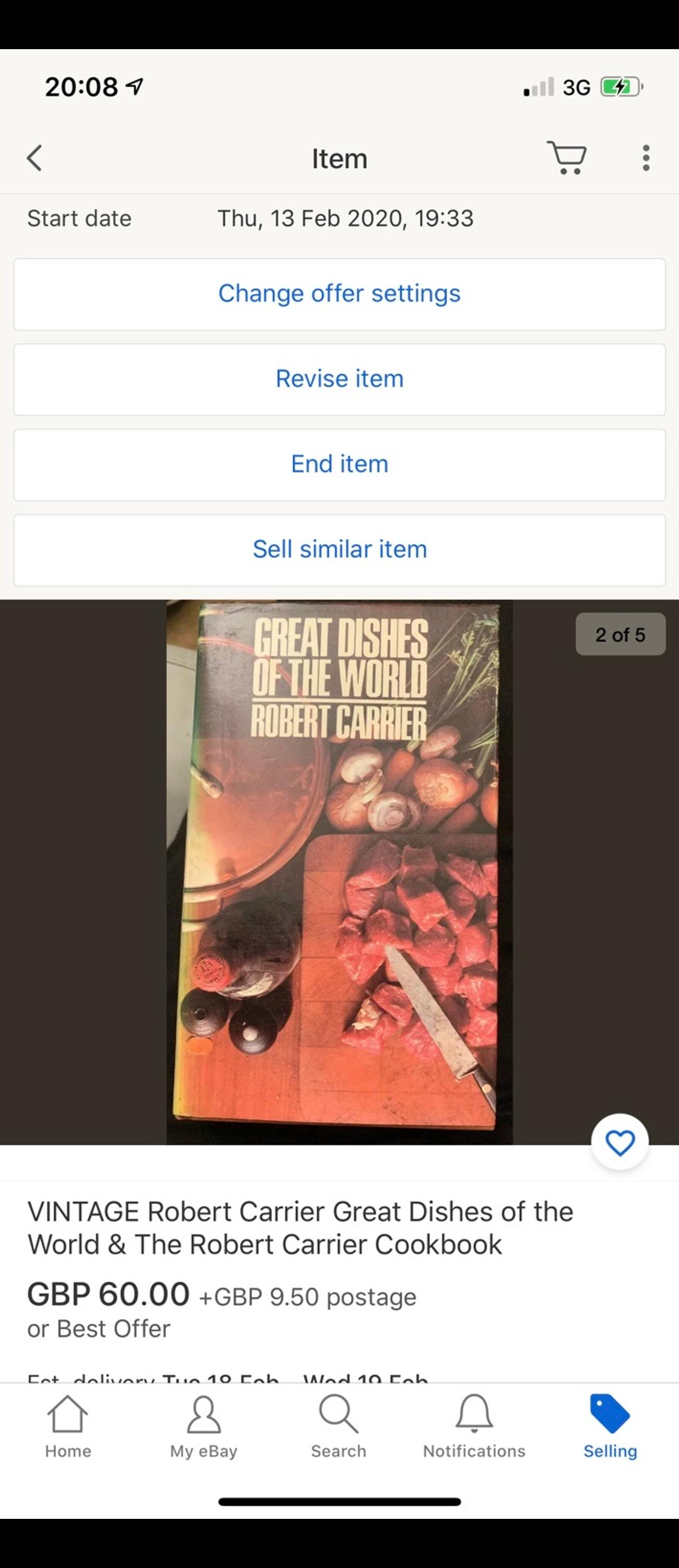 VINTAGE 1970 Robert Carrier Great Dishes of the World & The Robert Carrier Cookbook. Condition is pretty good. Open to sensible offers. Buyer collects.