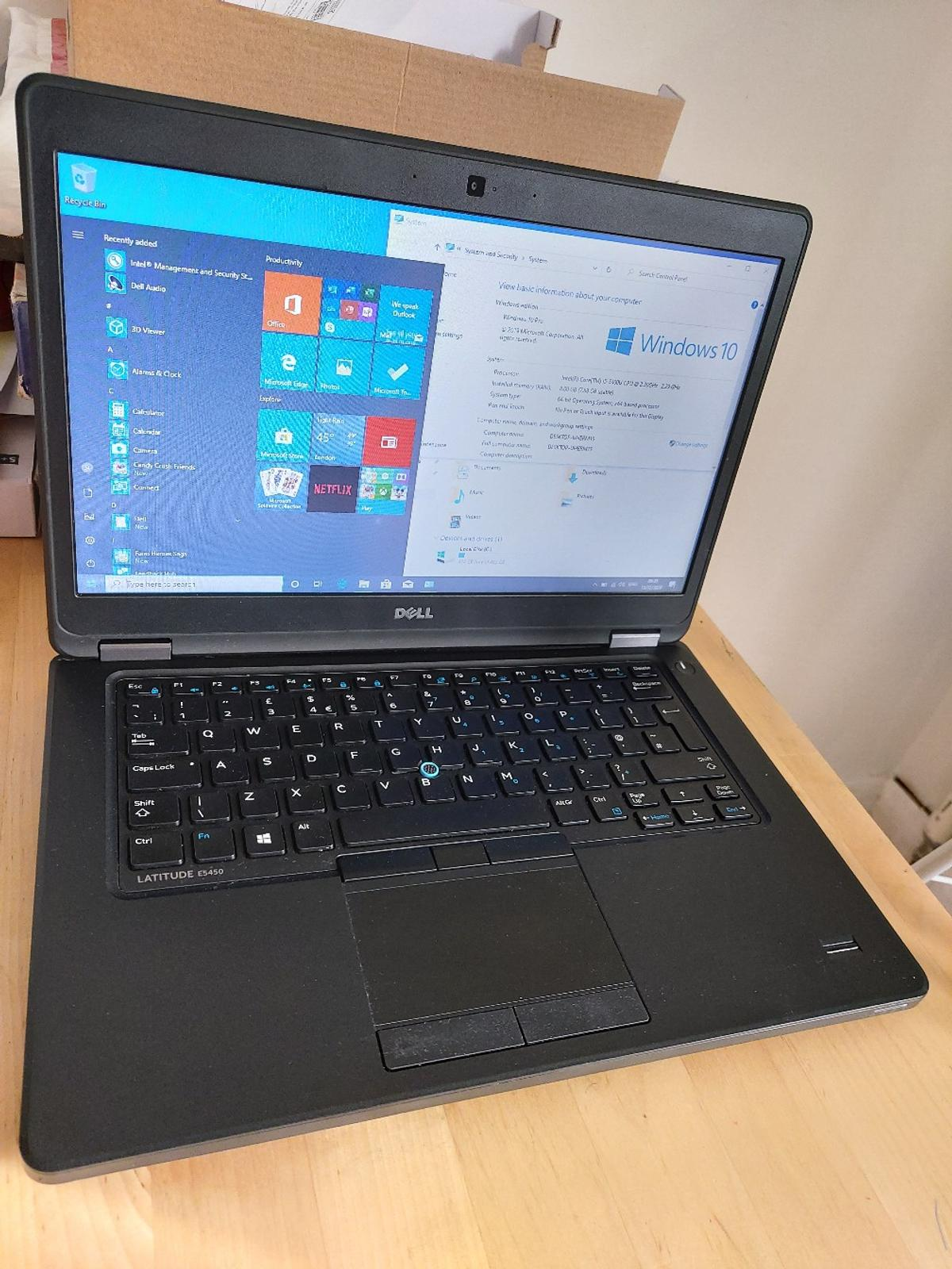 Dell Latitude E5450 14 inches Display Screen  Intel Core i5-5300U 2.30GHz 8GB DDR3 RAM Memory and 500GB HDD Storage Windows 10 Professional Laptop comes with charger and a generic box  Laptop is all in good working condition battery holds a good charge.  Any questions please feel free to ask u always respond immediately.