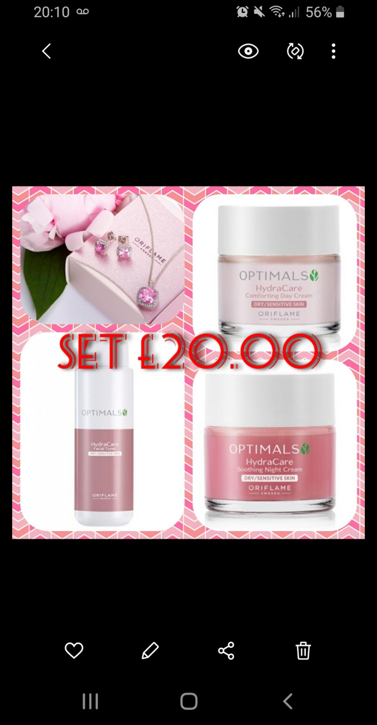 Perfect for mothers day all 4 items for £20!F Gentle alcohol-free toning lotion for dry or sensitive skinRemoves traces of make-up and impurities Gorgeous necklace and earring set Boxed A deeply hydrating day cream that leaves dry and sensitive skin refreshed, supple and calmed. With Swedish natural ingredient blend of Heather and Sweet Chestnut, with Vitamin B3 and Anti-pollution Active.An intensely hydrating night cream that leaves dry and sensitive skin feeling soft, nourished and calmed.