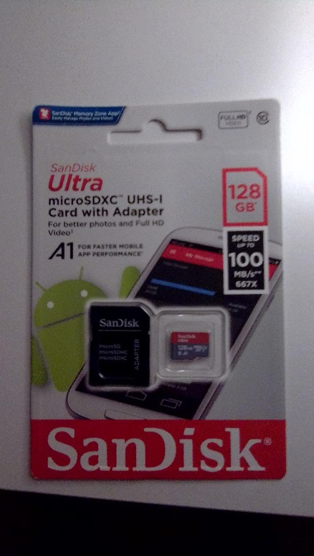 Brand new, sealed memory card 128 GB plus adapter