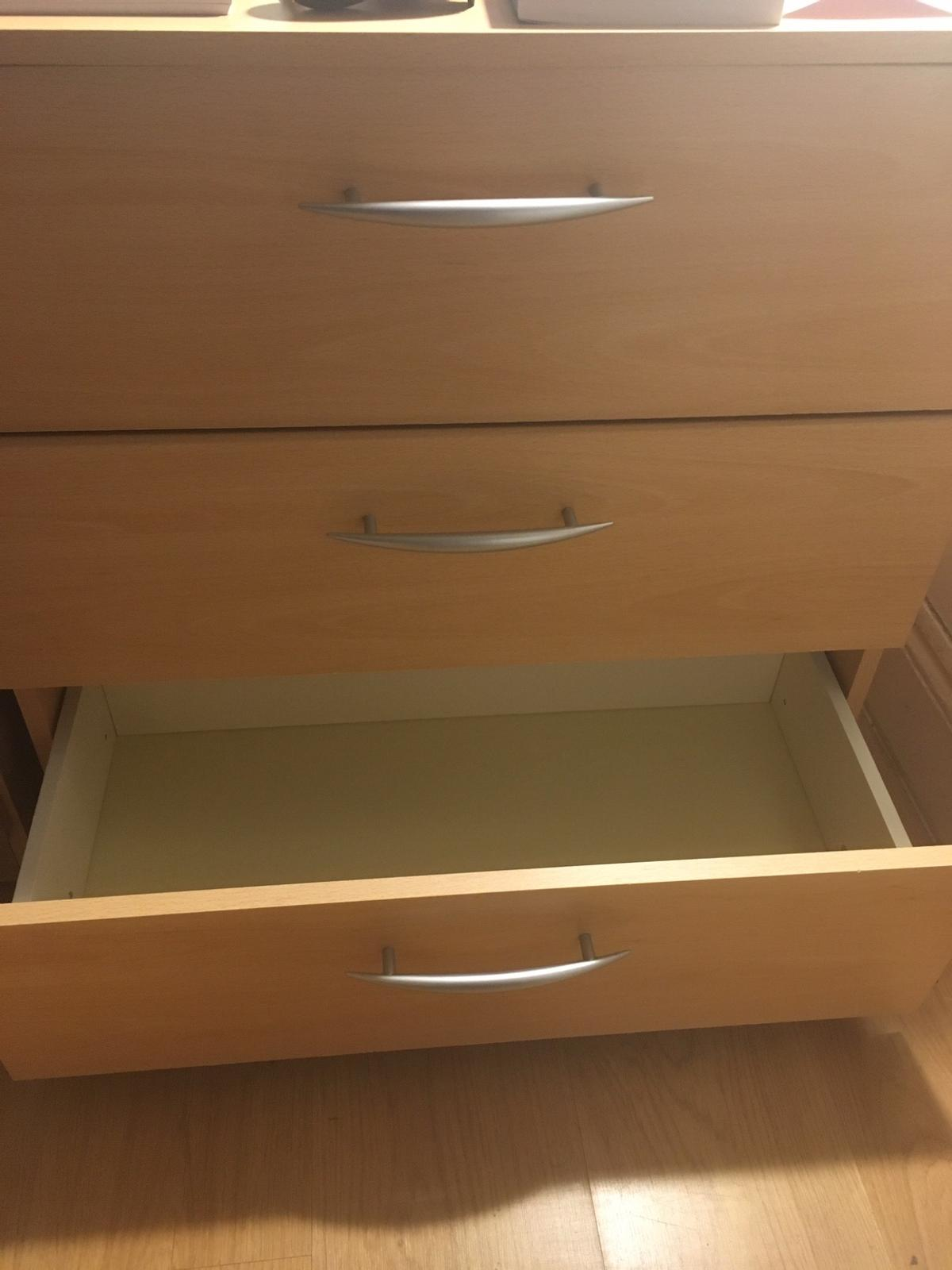 Measures are 35cm deep x 67 long x 64 high. 3 drawers. Good conditions