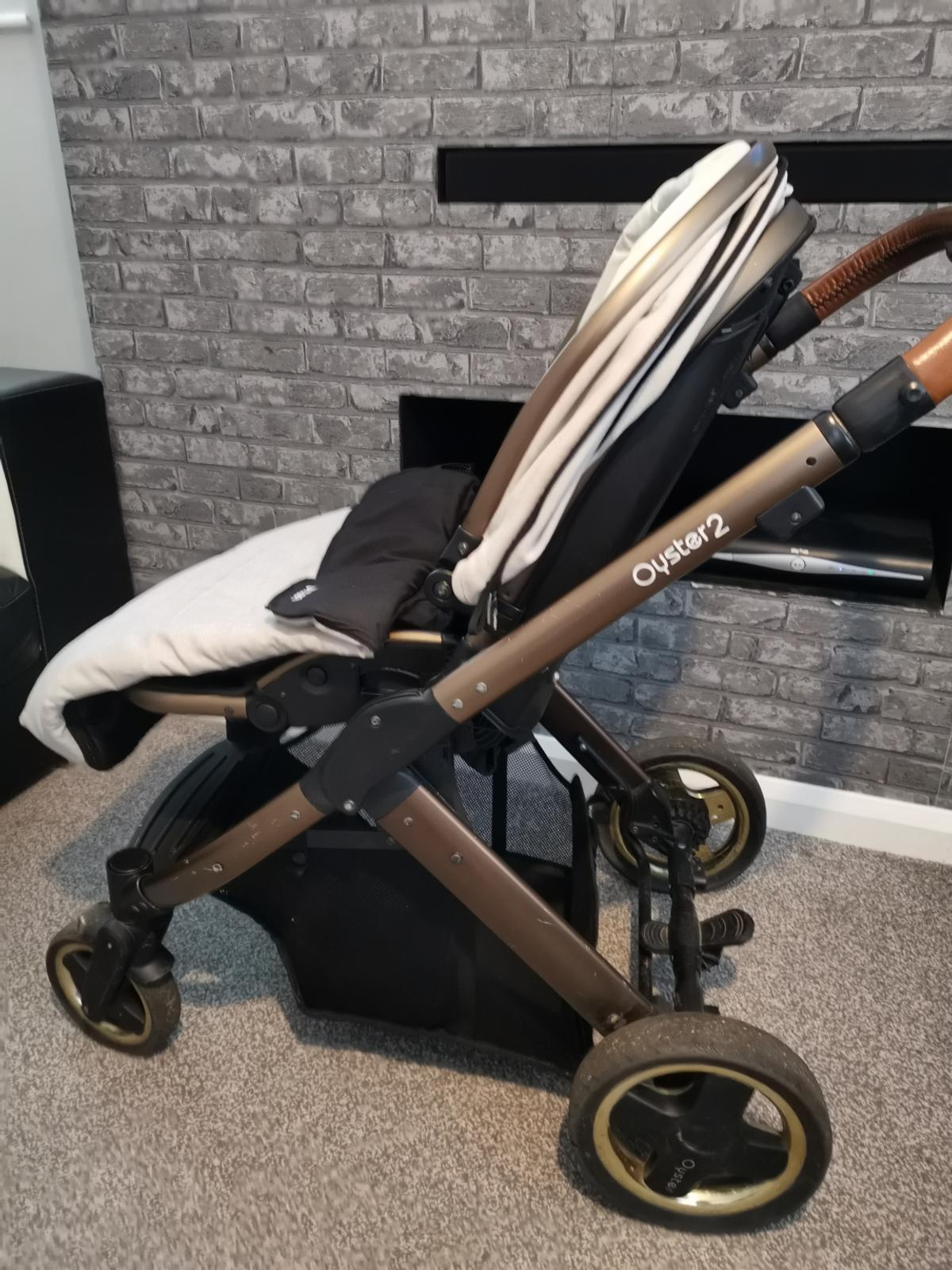 Very good condition few marks from getting out car, carry cot and seat unit both with rain covers parent and world facing matching changing bag, cost toes, seat liner and cover