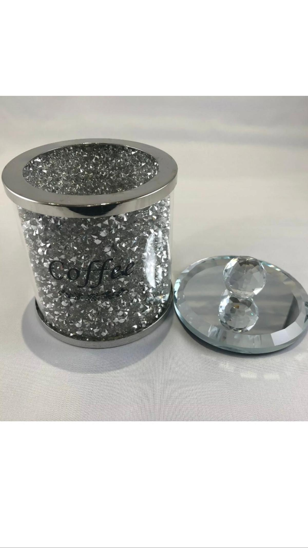 DIAMOND CRUSHED SILVER CRYSTAL FILLED TEA COFFEE SUGAR CANISTERS JARS STORAGE PLEASE SEE MY OTHER STUFF