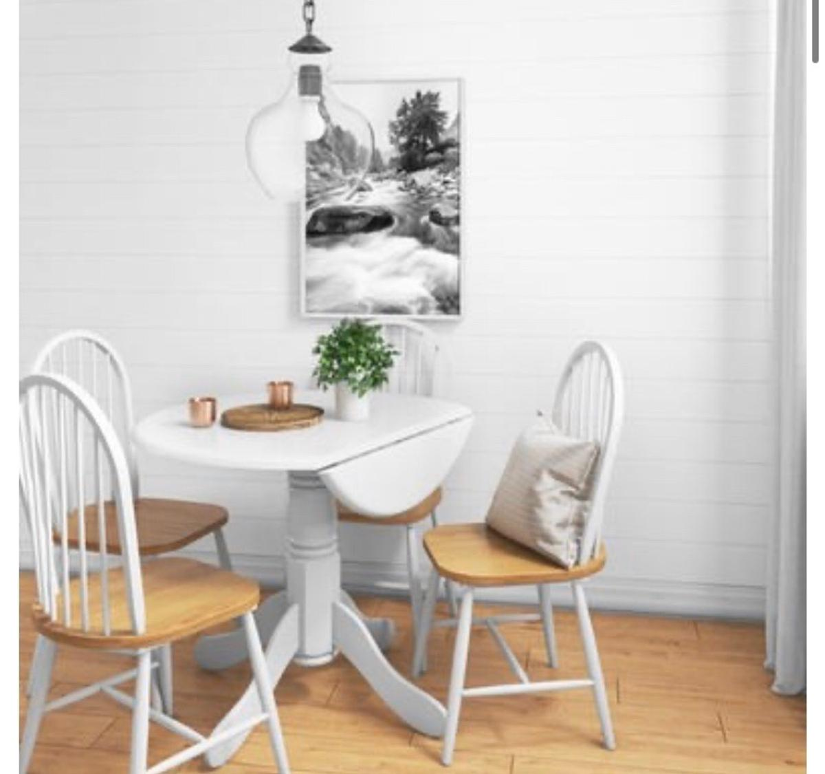 New and in box - solid rubber wood drop leaf table in white