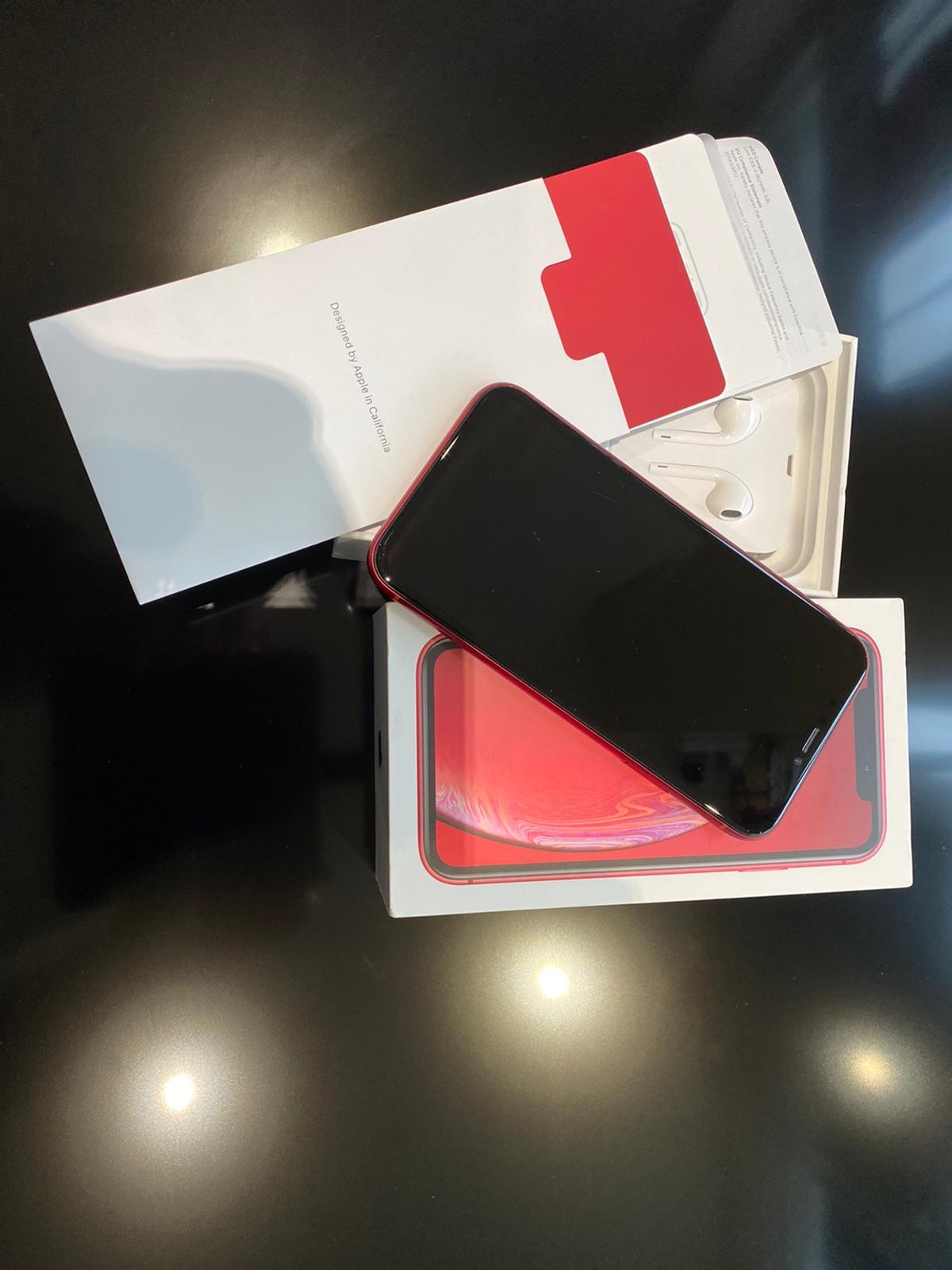 iPhone XR 64GB Product Red in excellent condition. Factory unlocked/open to all networks. No marks on the body and only slight signs of use on the screen. Comes with original unused charging cable and in box with paperwork and will be fitted with a high quality tempered glass screen protector. £395 ovno. Can be delivered locally if necessary. Message or Call 01484 482888 (daytime) if you require any further information.