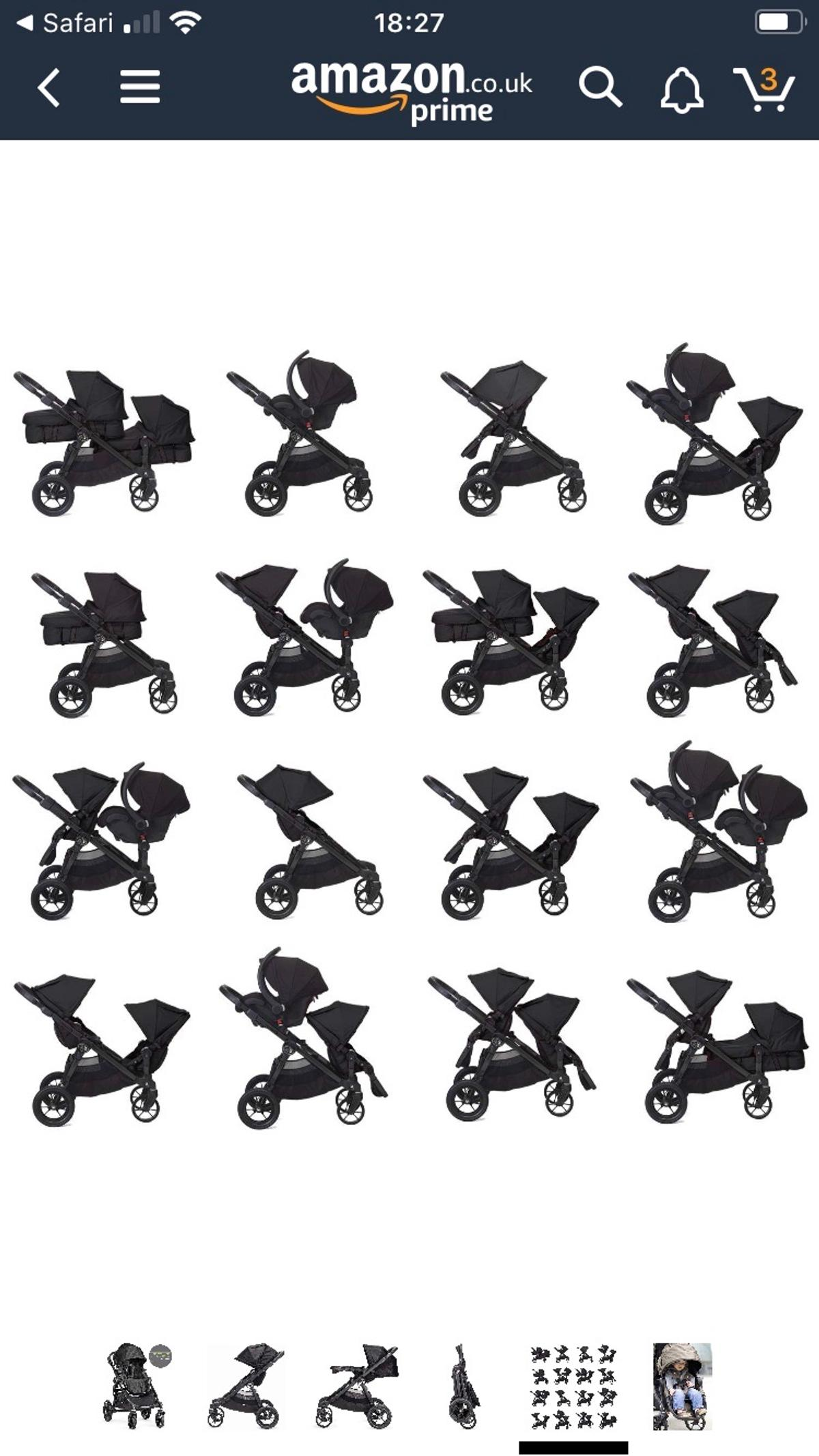 City select tandem double buggy in black 2 standard seat units and 1 conversion kit to make one a carrycot for newborn (this is in red) Comes with maxi cosi car seat adapters, rain covers and 1 red footmuff for the standard seat unit Loads of different combinations for how you set up seats (see pictures) so really versatile. It also has a very large basket underneath In used but very good condition. Usual marks on the frame from getting in and out of the car but nothing major Fantastic buggy!