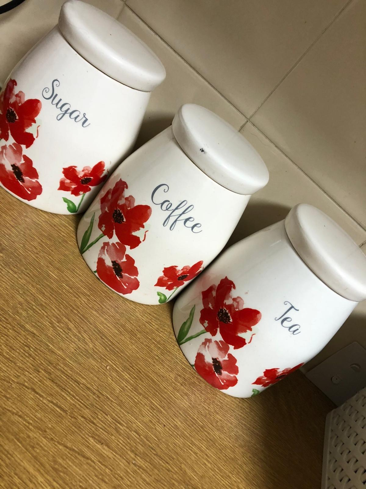 Red Poppy Tea Sugar Coffee Canister Set In Kirklees For 10 00 For Sale Shpock