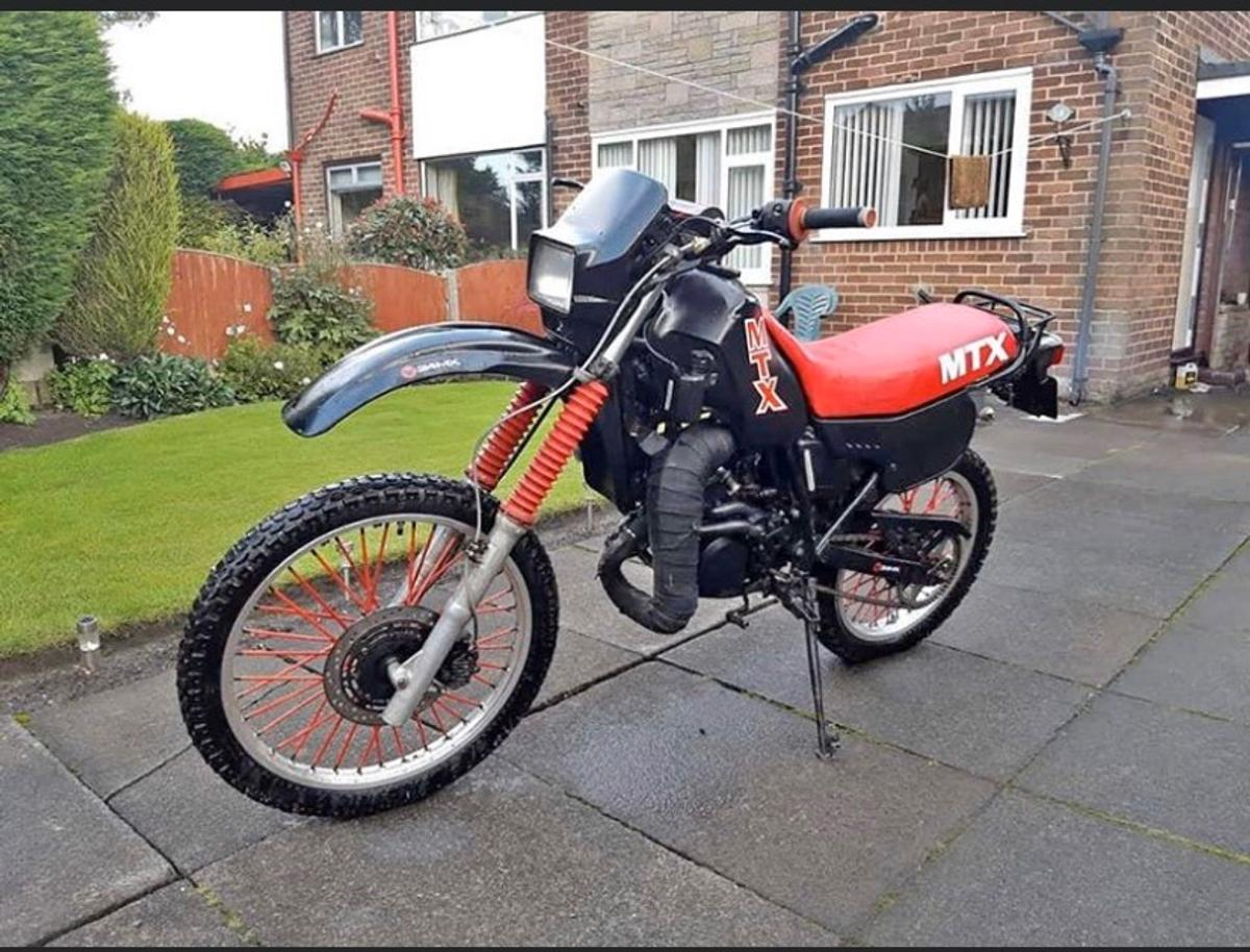 Hi mate I have a 1988 Honda mtx 125R Really rare bike had a lot of work done to it it's had Performance reeds Big one full system All the lights have been rewired up Brand new back tyre Brand new front brake Caliper Brand new brakes front is disk Rear is a drum New fork seals New throttle cable Aswell as clucth cable New cage in the back New battery New horn  Smaller number plate Now this bike has come back to its glory and is rapid bike really fast But needs a new piston swaps