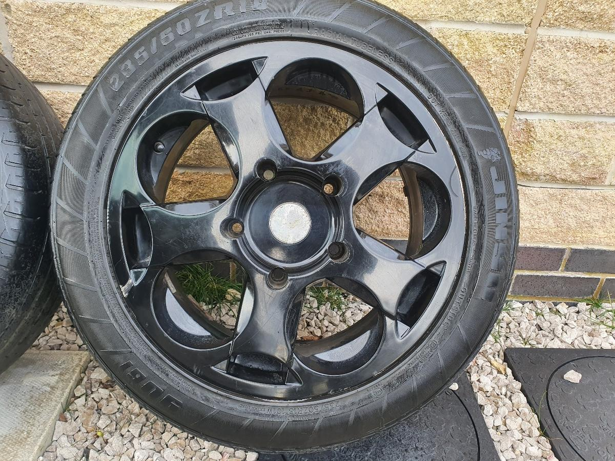 """Up for sale is a set of 18"""" Lambo Style Alloys 4 good tyres No cracks, welds or bends Alloys are in good condition few Mark's here and there 5x160 (ford transit fitment) Bargain at £450 with tyres so no offers please First come first serve Collection from nelson in Lancashire"""