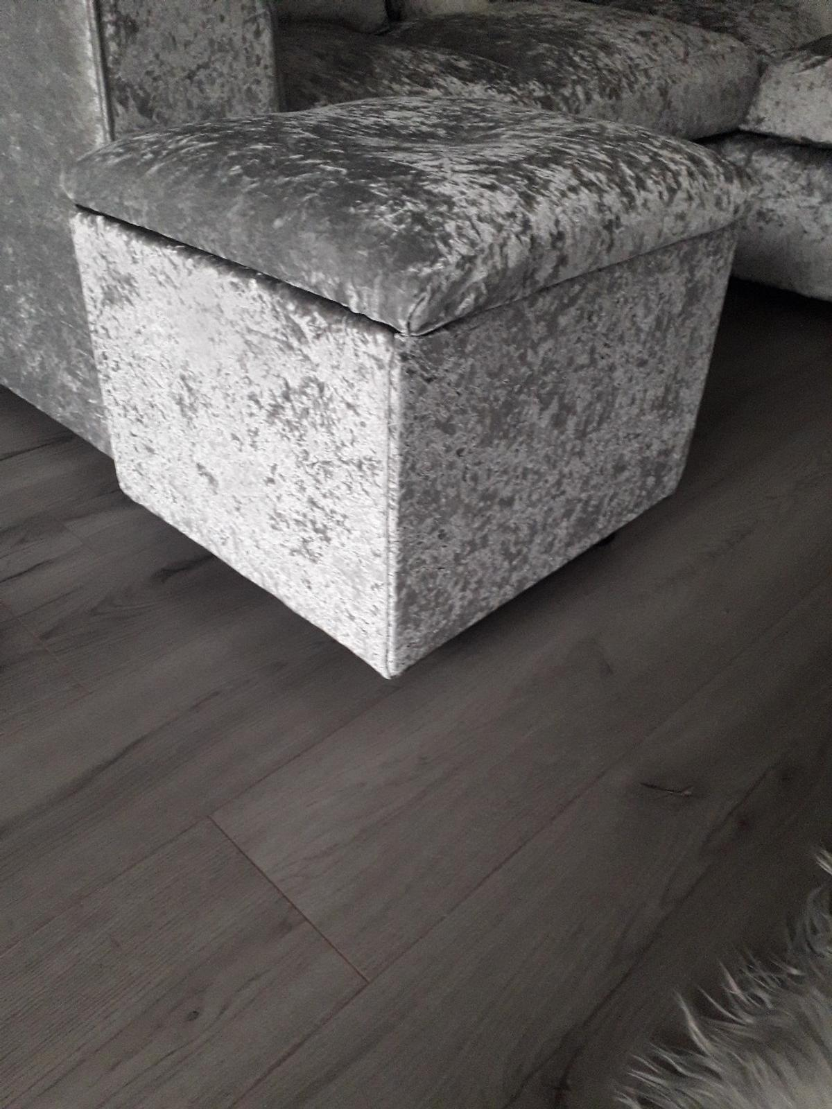 large wooden silver crushed velvet storage footstool as new collection only from Bellamy road ng184qb