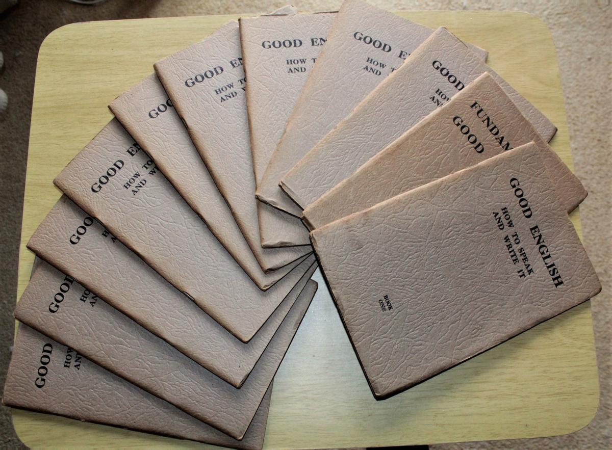 """Good English - How to Speak and Write it - Books 1-10 10 Vintage paperback volumes plus extra volume """"Fundamentals of Good English"""" Each book has 64 pages of lessons and tests. Books measure 8½"""" x 5½"""" All are in Good Condition Please take a look at my other items for sale"""