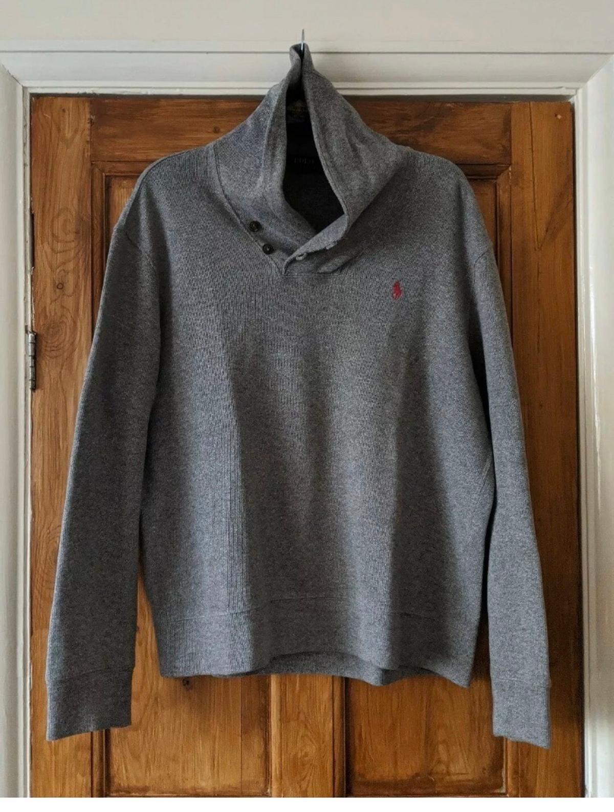 Ralph Lauren Super Soft 100% Cotton Jumper Sweater Casual Size L Shawl Neck Warm. Used but in very good condition. Dispatched with Royal Mail 2nd Class.