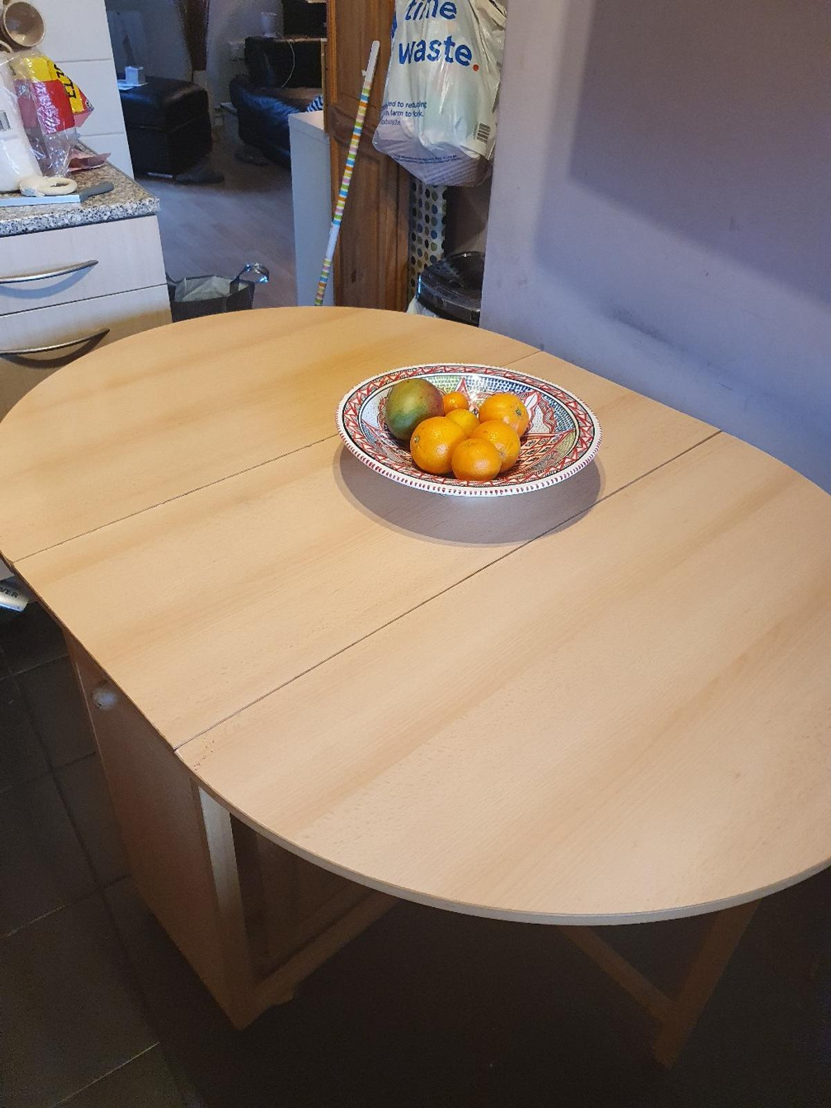 Used Beachwood Table. Have had for number of years so there are signs of wear. Moving to Smaller place so need to sell.  Collection only.