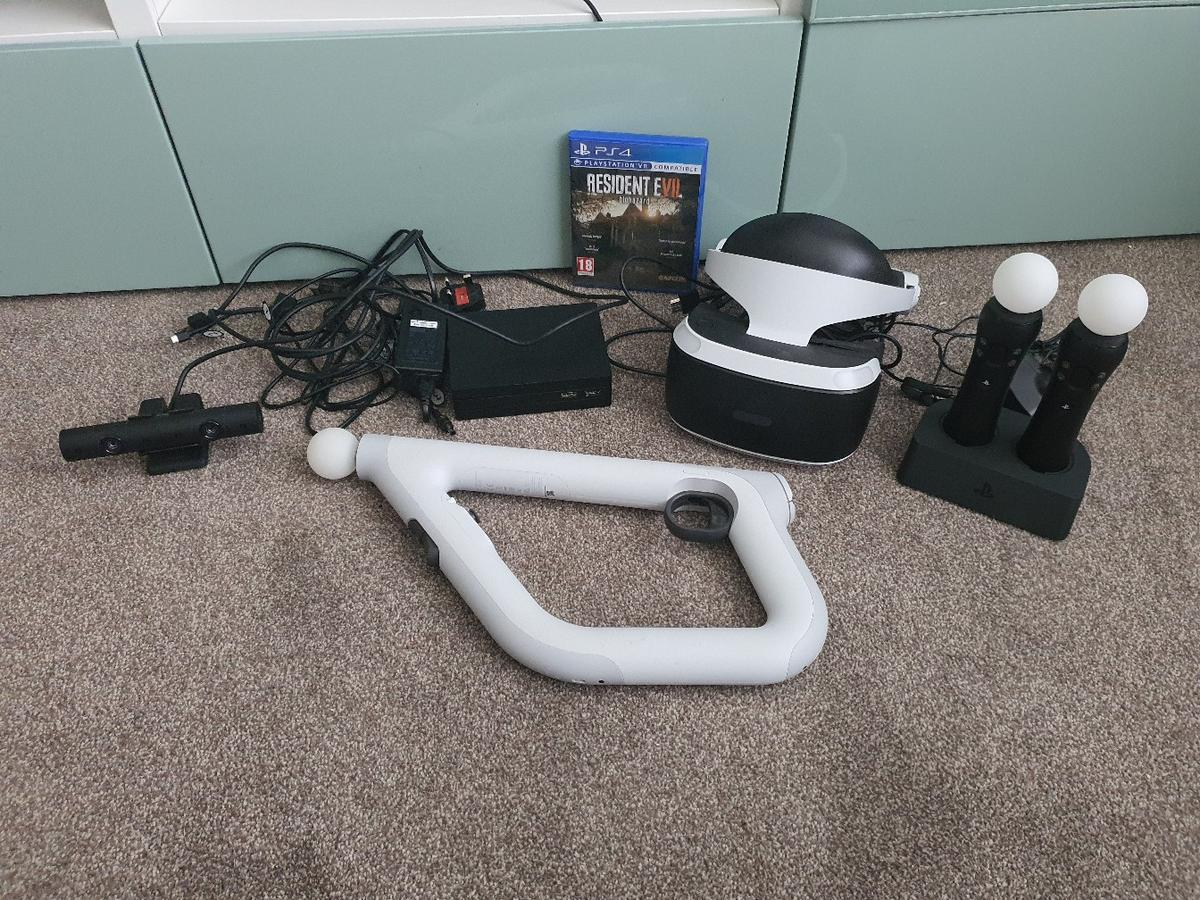 version 2 psvr with camera and all leads, 2 x move controllers V2 with charger, aim controller and game  excellent condition  collection only