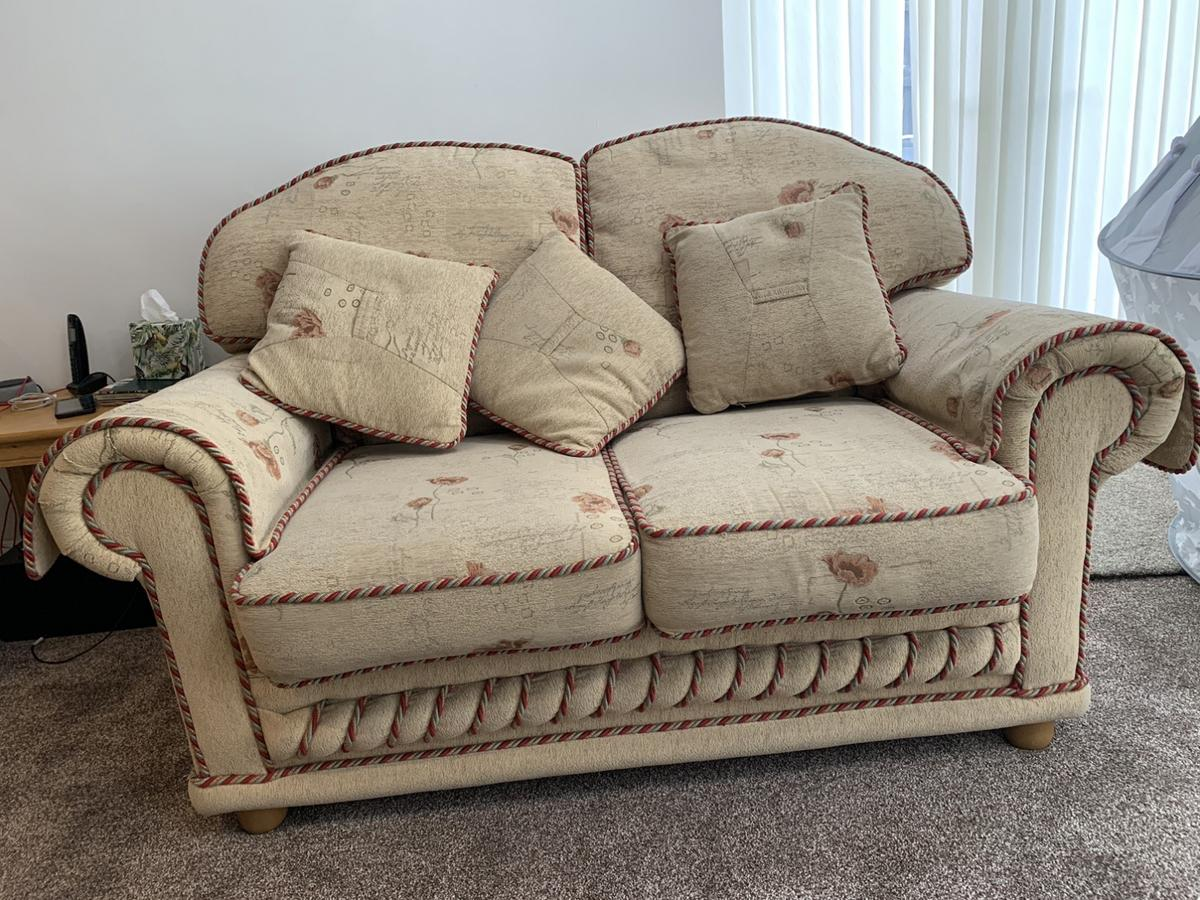 There are two 3 seater sofas and one 2 seater sofa.  In really good condition had it for 3 years in a room we don't use. Converting room into dining room need room.  3 seater (length 200cm) , (width 850cm), height 70cm  2 seater (length 150 cm), (width 850cm), height 70cm