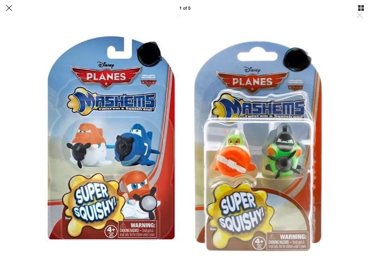 Brand New  Both Packs/variants of Disney Planes Mash'ems - Mashem 2 Figure Packs  They're squishy and squashy and lots of fun! 2 Packs supplied, Each pack Contains 2 Planes Mashems. 4 Planes Mashems in total  For ages 4+  lots of fun!  Warnings: Do not aim at eyes or face.  Mash'ems are not intended for wood surfaces. Staining may occur.  Pet and Smoke Free Home  Please Check Out My Other Sales Items & Follow me for More Thanks
