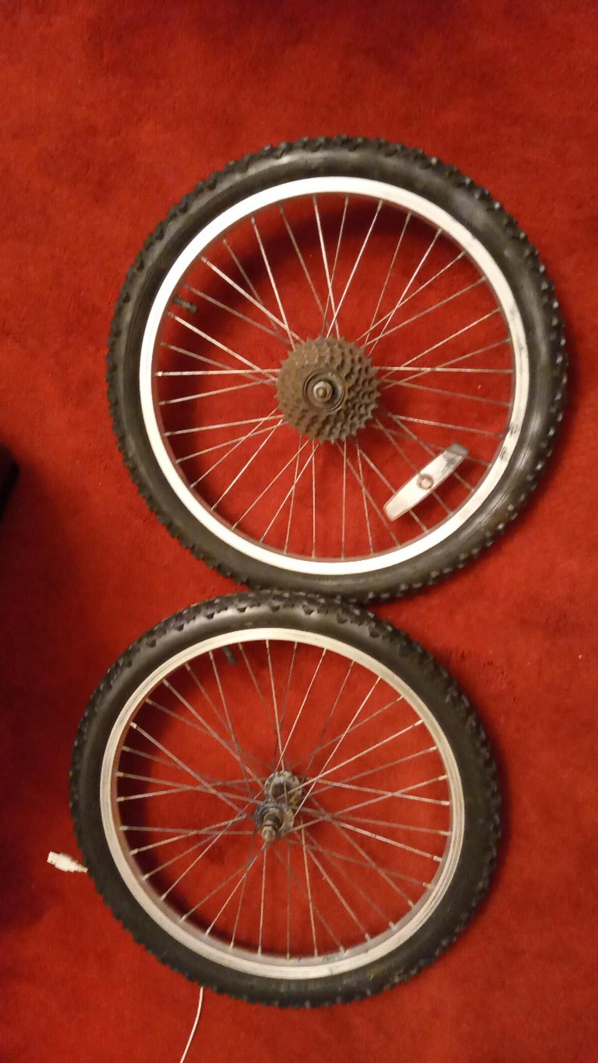 These bike wheels are all ready blown up and waiting to replace the wheels and tyres on the bike your buying them for they are in good condition, no buckle and no puncture the tread is also good on both tyres One obviously comes with the gear cog, the size on both are 20\2.0 if I have got it right