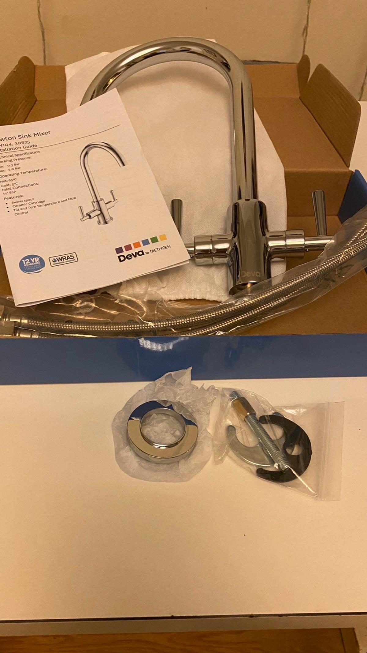 Brand new sink tap mixer, complete with flexi connectors, sitting ring and under sink mount brackets.