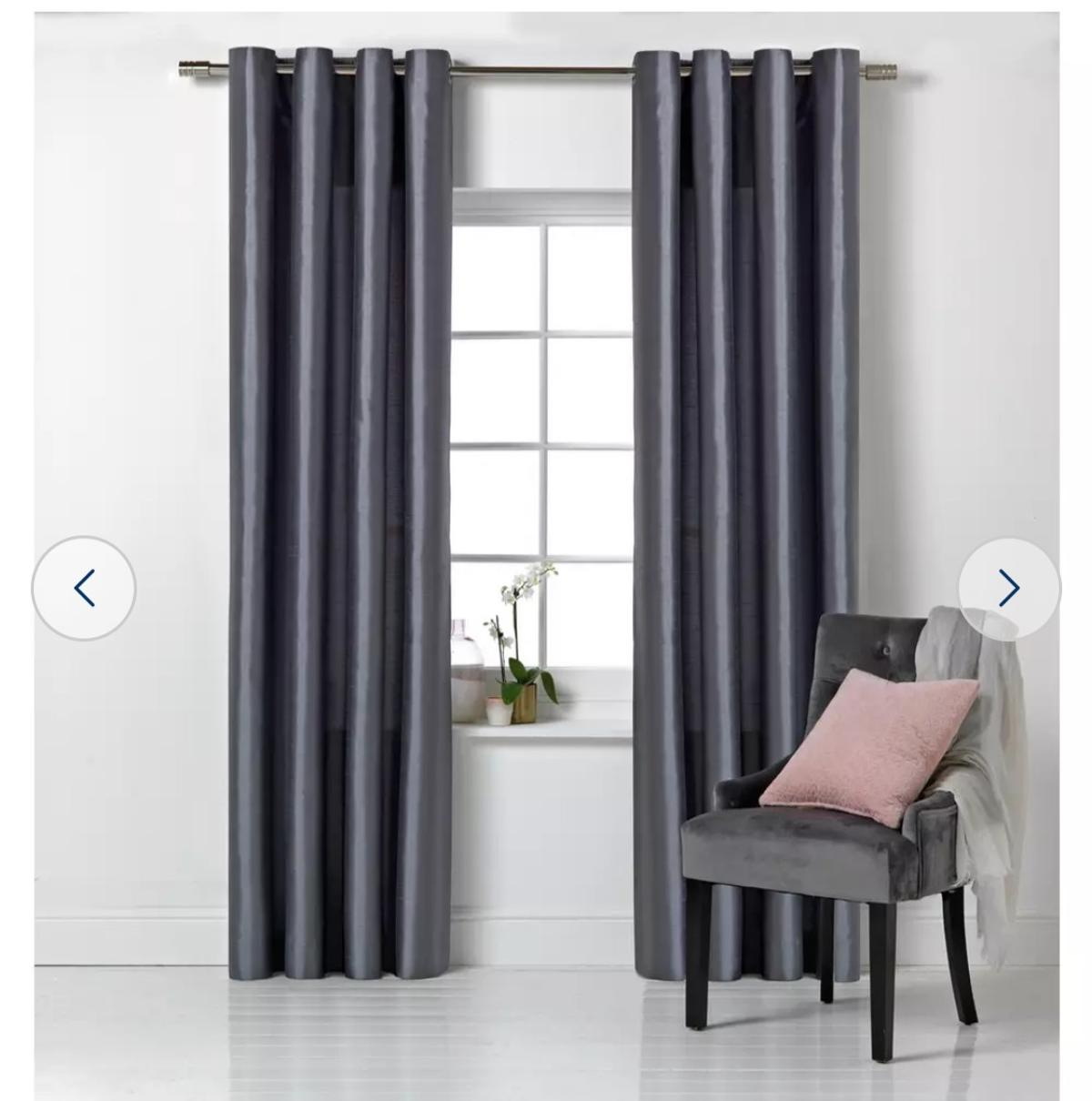 Faux silk charcoal grey fully eyelet lined curtains. W 117cm x L137cm. In brand new condition, all washed and clean ready to go. No marks or anything. Need gone ASAP as I am moving.