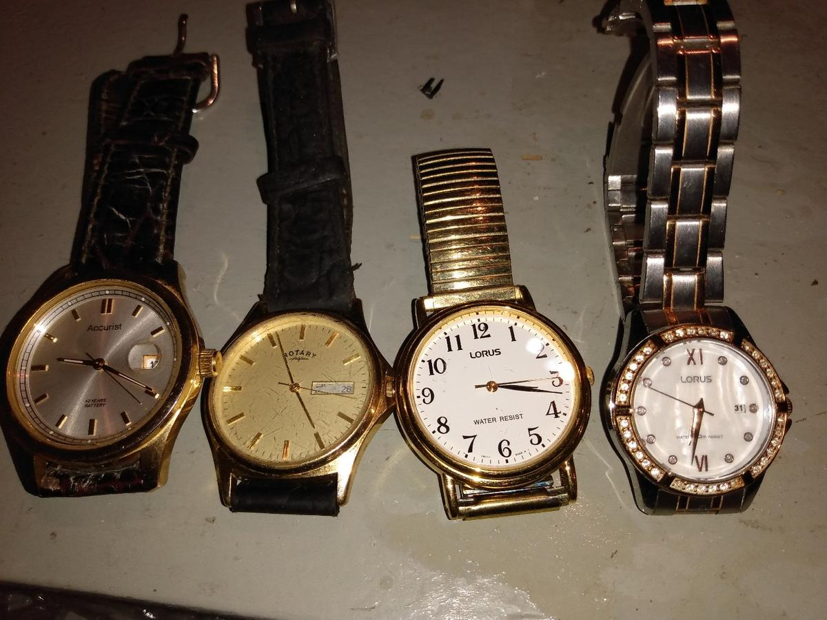 men's accurist ms075s, rotary gs03002/03(11263), lotus v501-x139, lotus ladies pc22-x026. working. couple need batteries. £20 each. all for £50