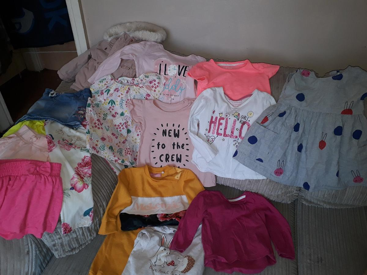 Mixture of tops, shorts, tracksuit, dress, skirt and coat. sizes are 9/12 month and 12/18 month. All free to anybody who can collect