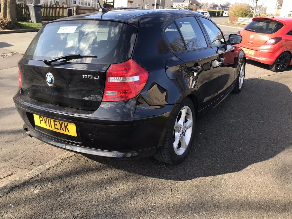 Just taken in px  2011  116d £30tax Mot sep  104k nothing for this car I'd call it low miles 1 key V5  Car runs and drives great nice and smooth is brilliant on diesel no smoke ect being the 116 it's only £30 a year to tax very cheap on insurance has been on register in past and front headlight clips are broken but penny's to buy and the abs light is on and Speedo doesn't work I've looked online and it will be due to drivers side rear wheel speed sensor common on these can show on obd asw