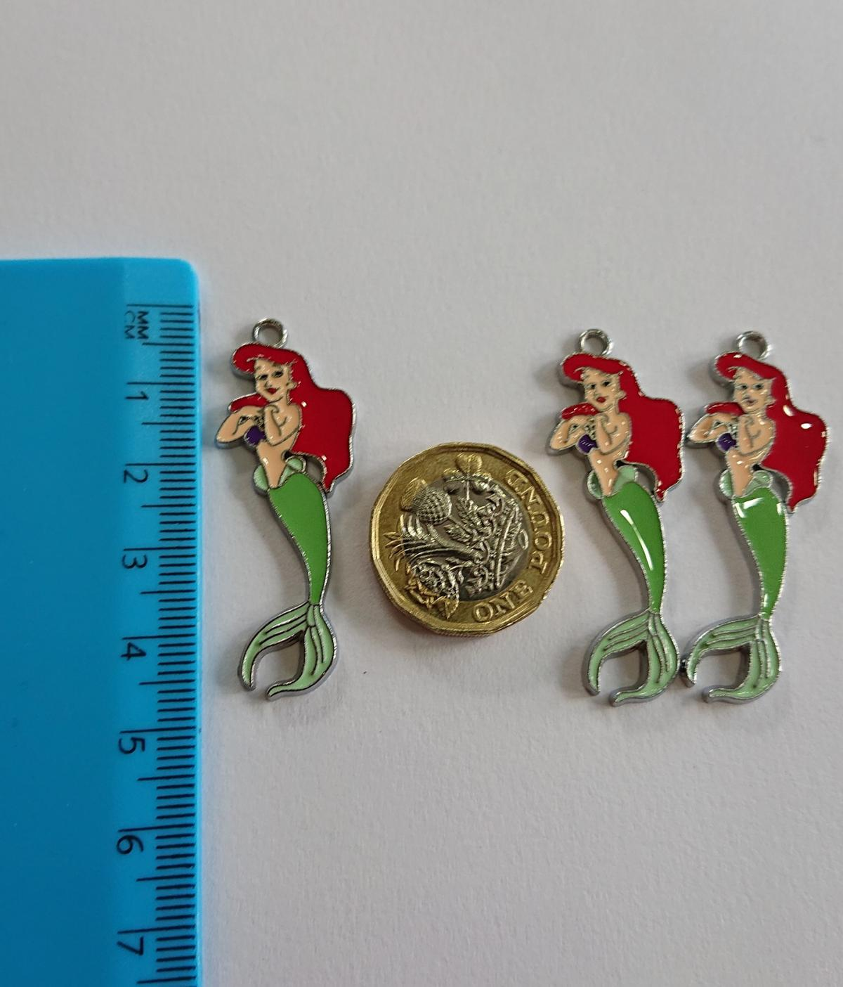 Silver Tone Enamel charms Shown Next To A Ruler & a pound coin for size Thank You for Looking Cheryl