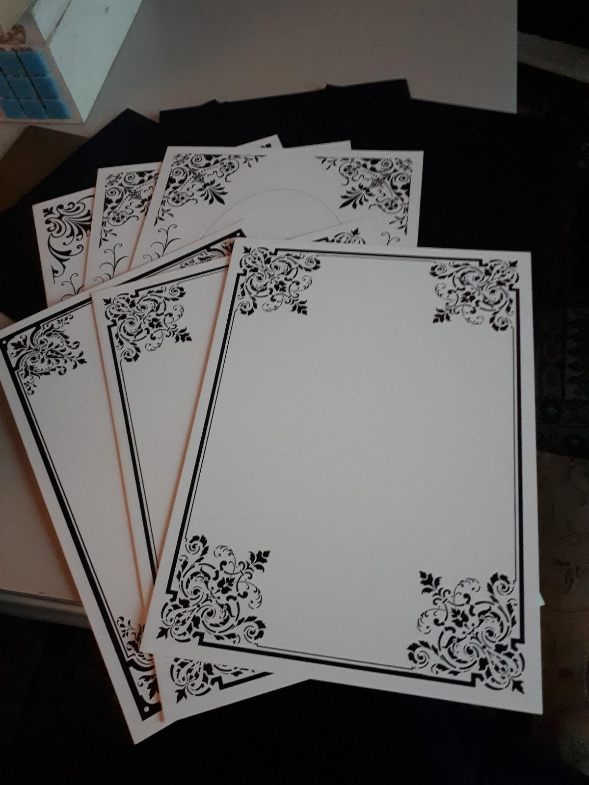 6 x A4 fancy edged white cards with 6 black envelopes. have more cards in white or black all envelopes are black. collection from Stourbridge or can post for extra fee ok thxs only £1.00 no offers ok bid wont be accepted and deal will be cancelled