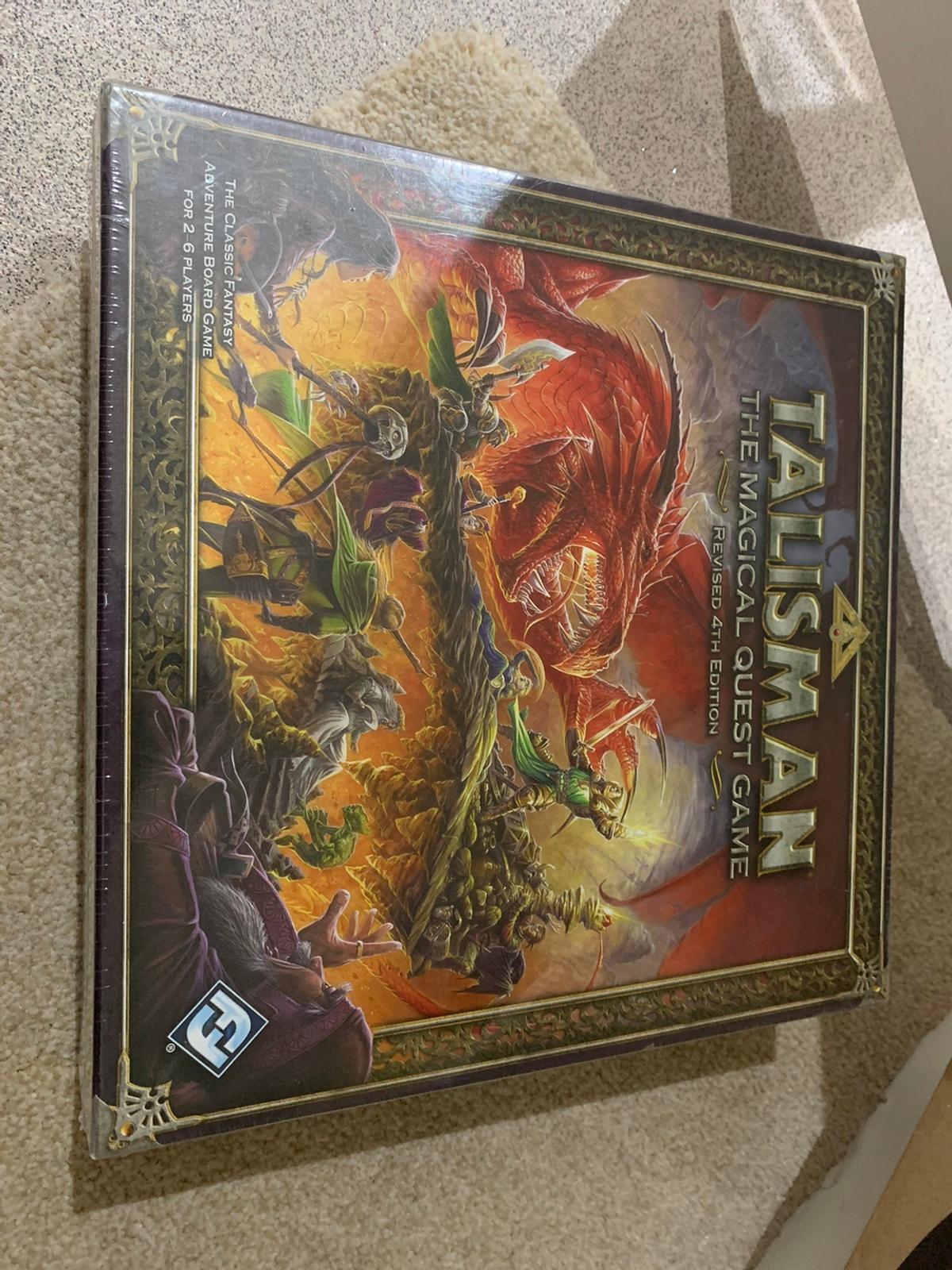 Talisman: The Magical Quest Game is a fantasy-themed adventure board game for two to six players, originally designed and produced by Games Workshop. From 2008 to 2017 Fantasy Flight Games produced Talisman under license from Games Workshop.  Brand New and Sealed  RRP: £48