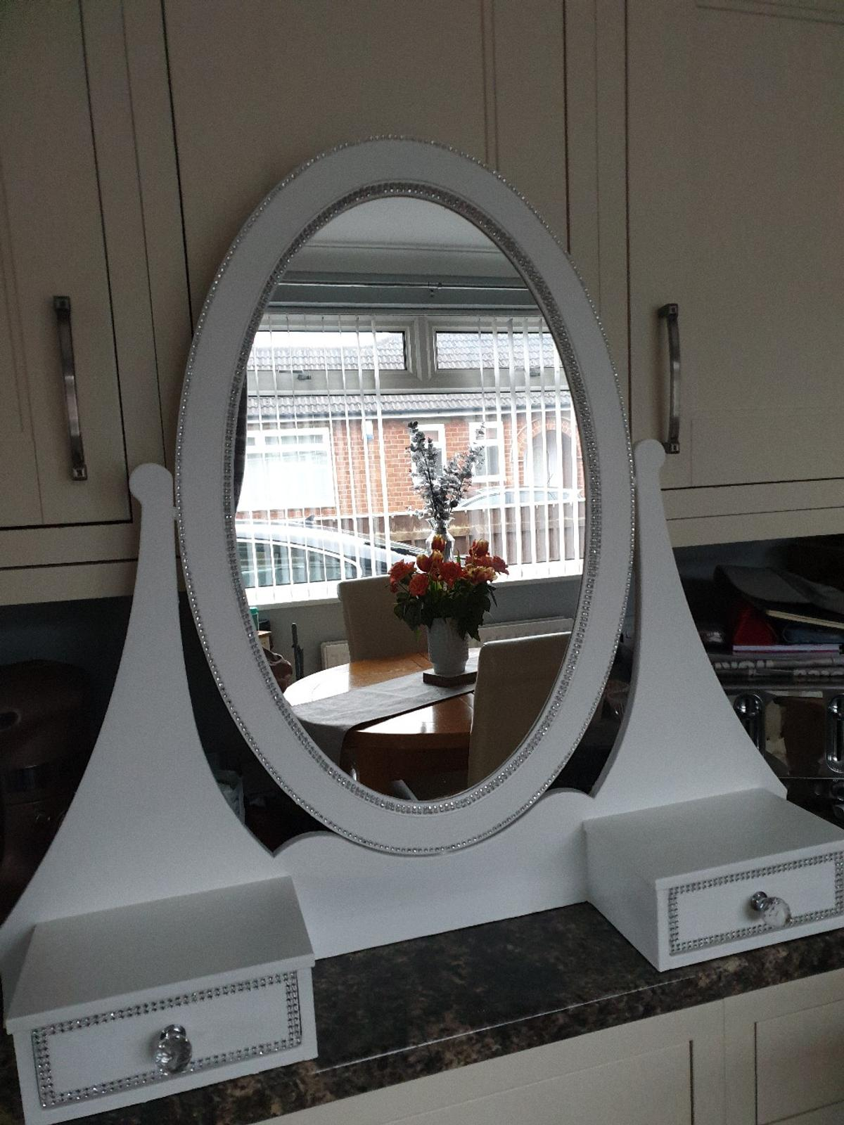 Fully repainted white Dressing table mirror with drawers