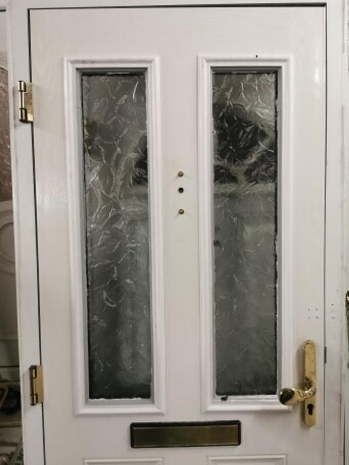 Blue composite front door with frame size 890 mm x 2078 good condition