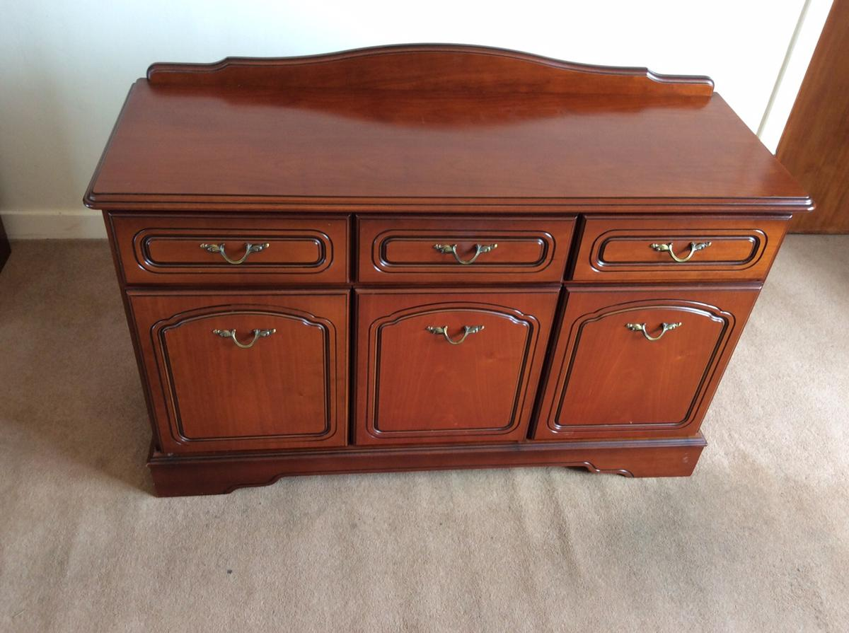 Cherrywood , 3 Drawers , 3 doors , shelves , good quality , good condition, sizes in cm w 123 ,d 45 ,h 85