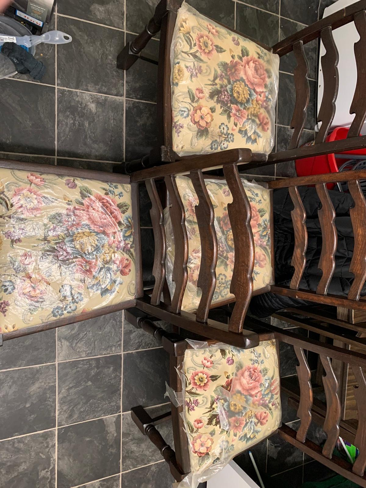 Antique vintage ladder back dining chairs.  Acquired through house clearance  Used/good condition  The cloth part of the seats are in excellent condition as they are covered  No postage available, can deliver locally but would rather collection as they are a difficult fit in the car
