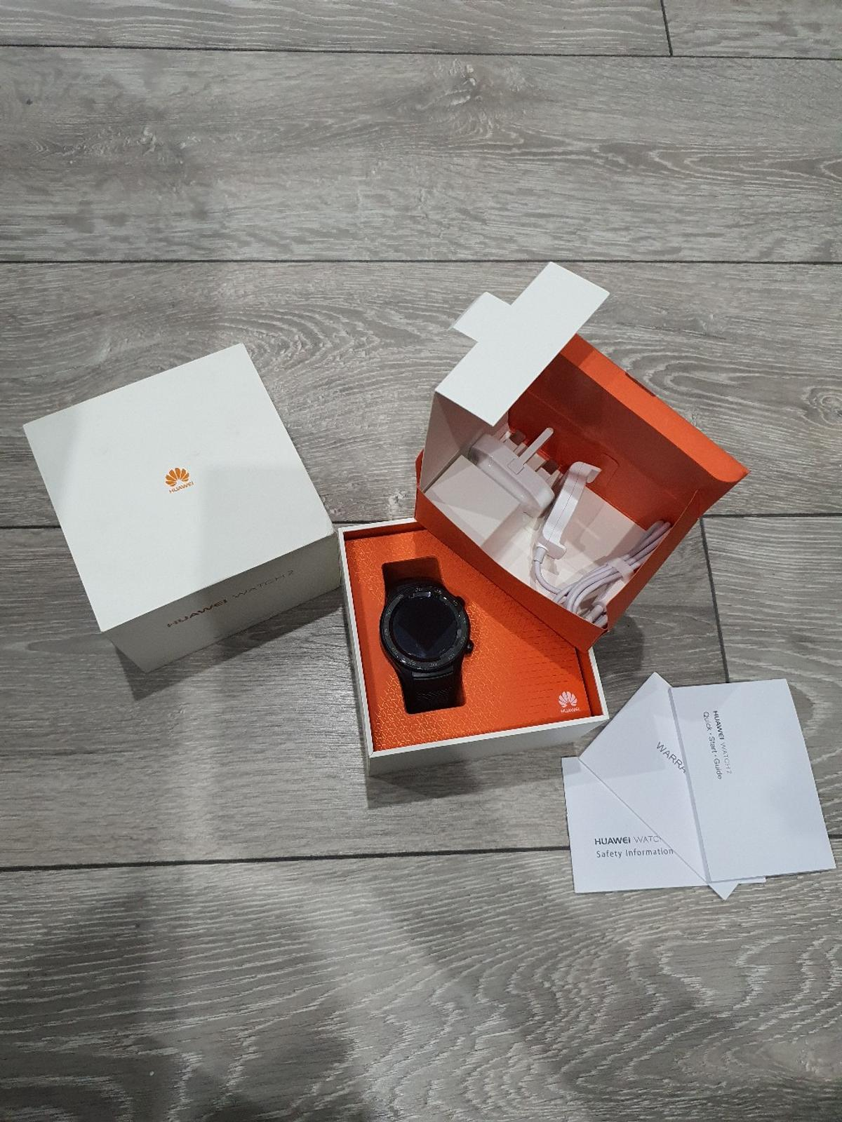 Huawei Watch 2. Boxed.  Super watch. Never let me down.  NFC for Google pay mobile payments.  Runs on the supreme Wear OS. Plug never used. Watch and charger has been used. Bought from amazon by myself. Selling due to upgrade of phone/watch.  This watch is still retailing for a decent amount and selling without box on other selling sites for more then my list price.  Watch has been sanitised with antibacterial products and put within a UV light sanitation box.  Collection or delivery.