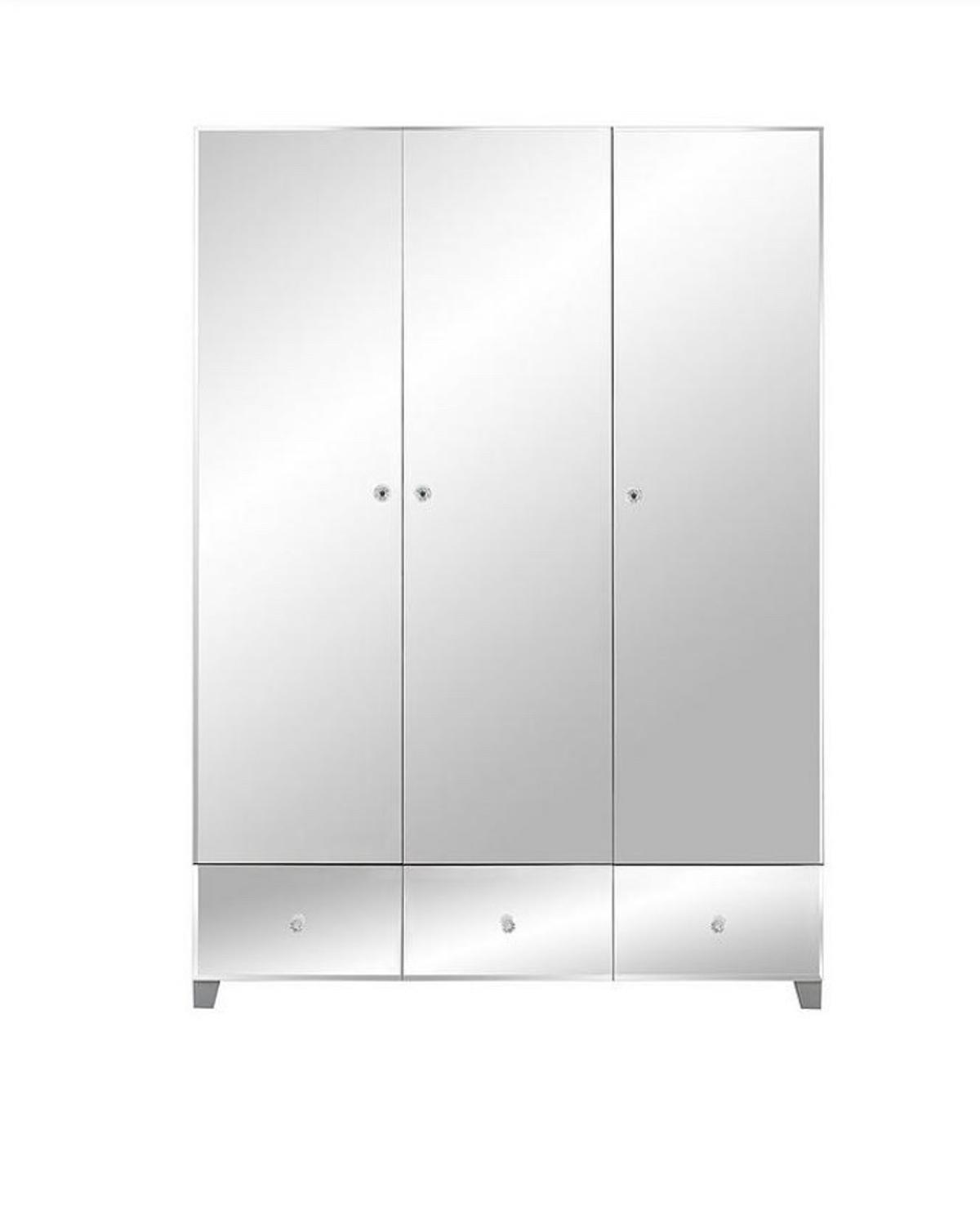 New in the box! Grab a bargain! BELLAGIO 3 Door 3 Drawers Mirrored wardrobe Just as fashionable as the outfits you'll store in it, the doors and drawer fronts are decked in shiny bevelled mirrors that add a fabulous sense of light and depth to your space. Sparkly jewel-effect handles add a glam garnish, and the frame is available in white or grey colourways to match your room. Dimensions: Height 185, Width 129, Depth 55 cm  It worth £379 at littlewoods website.  Only £295 free delivery